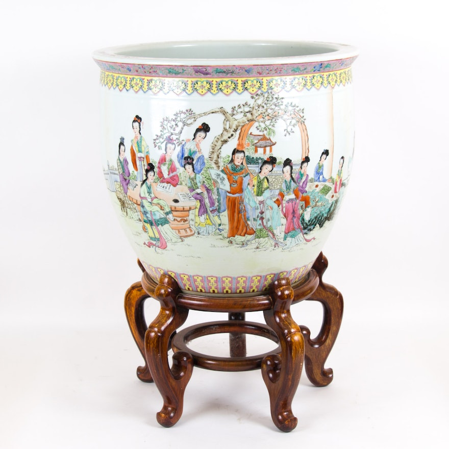 Large Chinese Ceramic Fish Bowl Planter With Stand Ebth