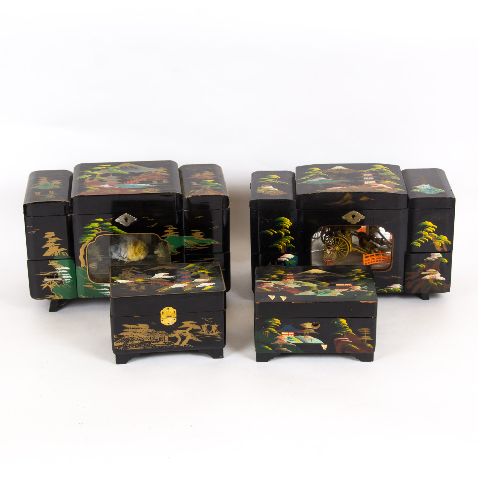 Collection of Japanese Painted Wooden Jewelry Boxes EBTH