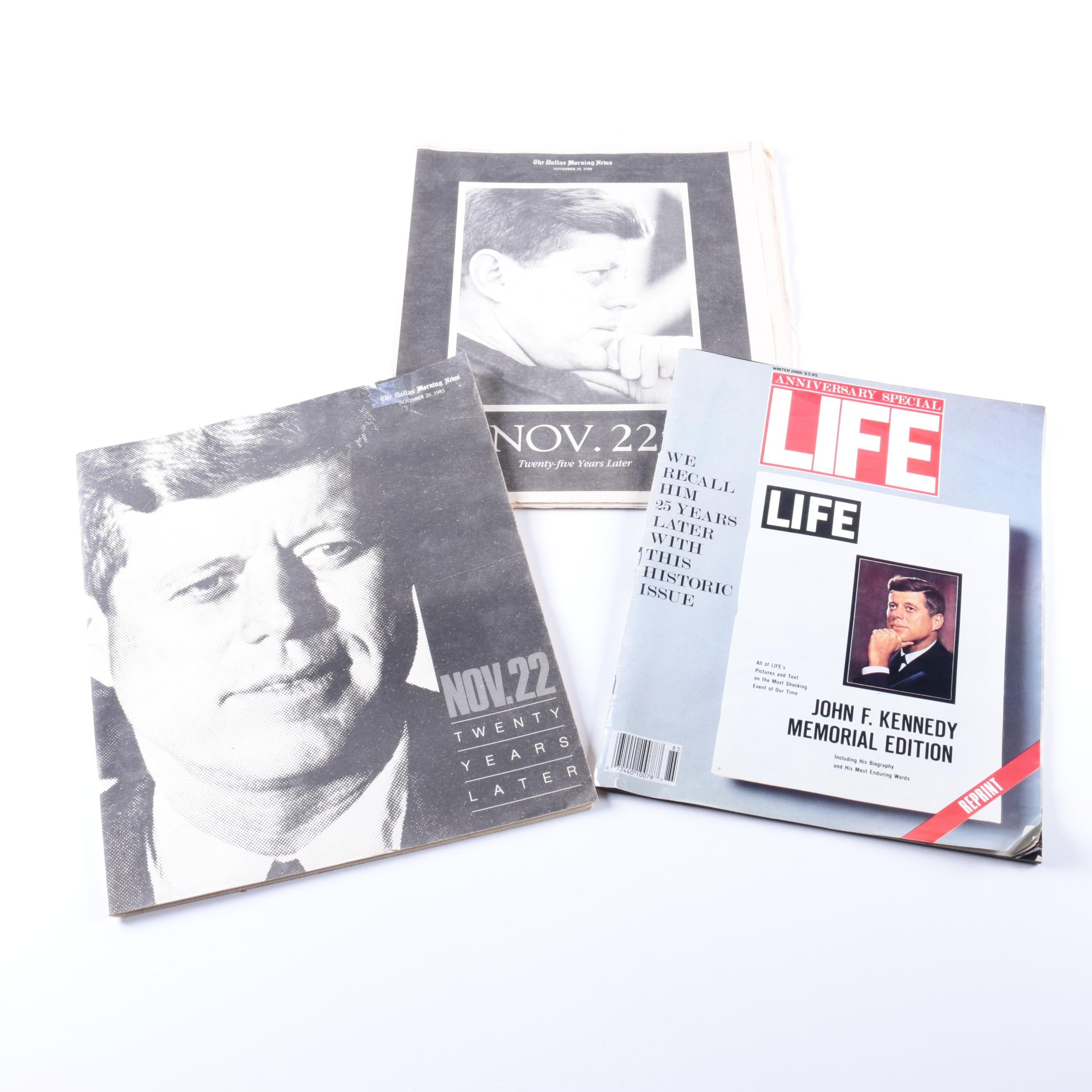 Assorted Newspapers and Magazine Featuring John F. Kennedy