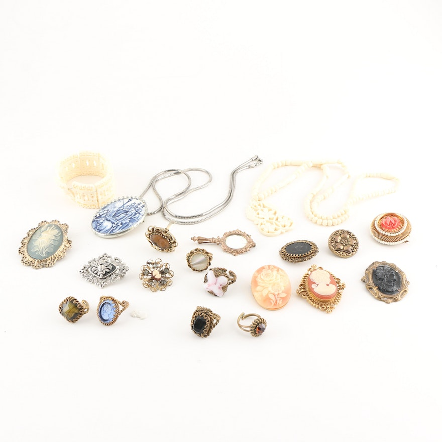 57f2f66414c Assortment of Vintage Costume Jewelry Including Cameo Brooches | EBTH