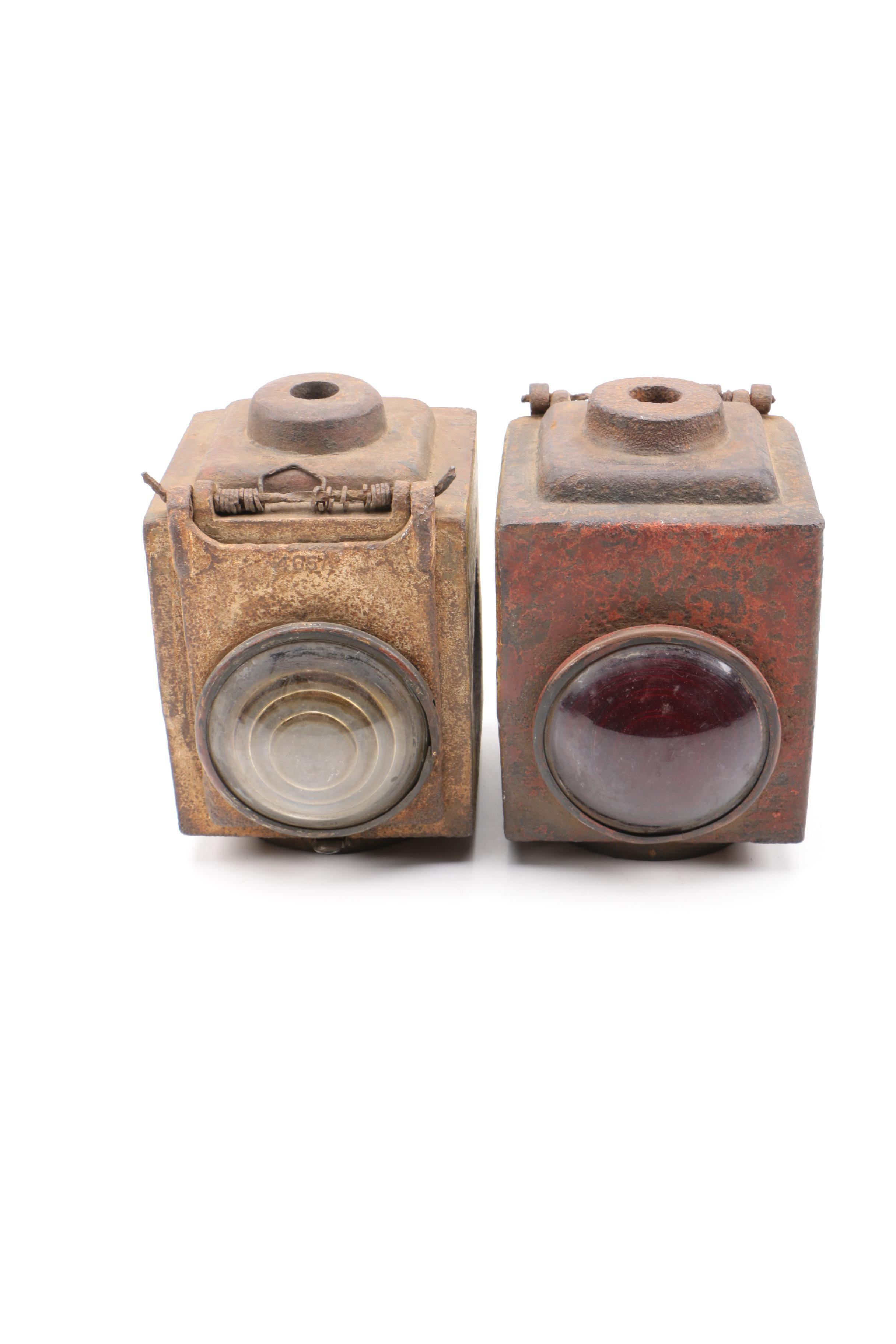 Pair of Cast Iron Railway Lanterns