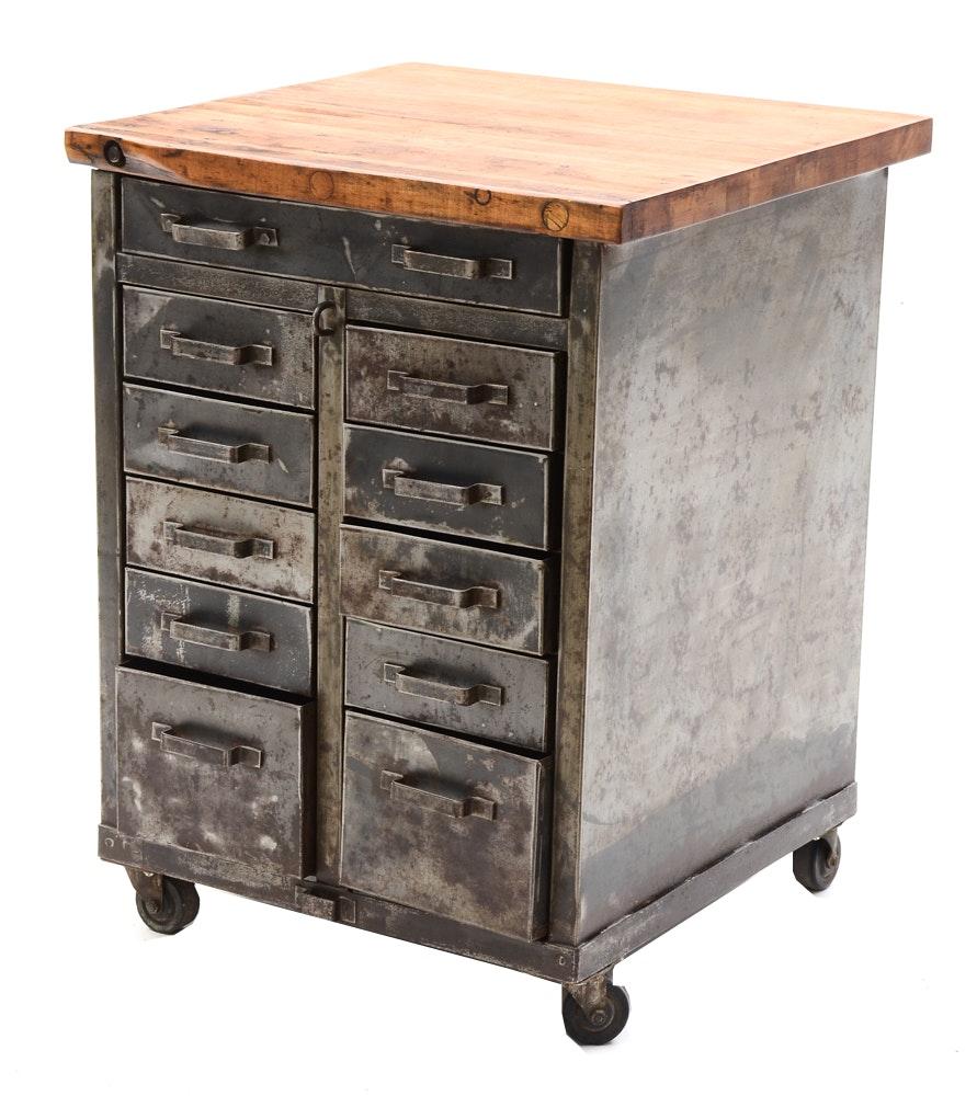 Vintage Industrial Cabinet With Butcher Block Top Ebth