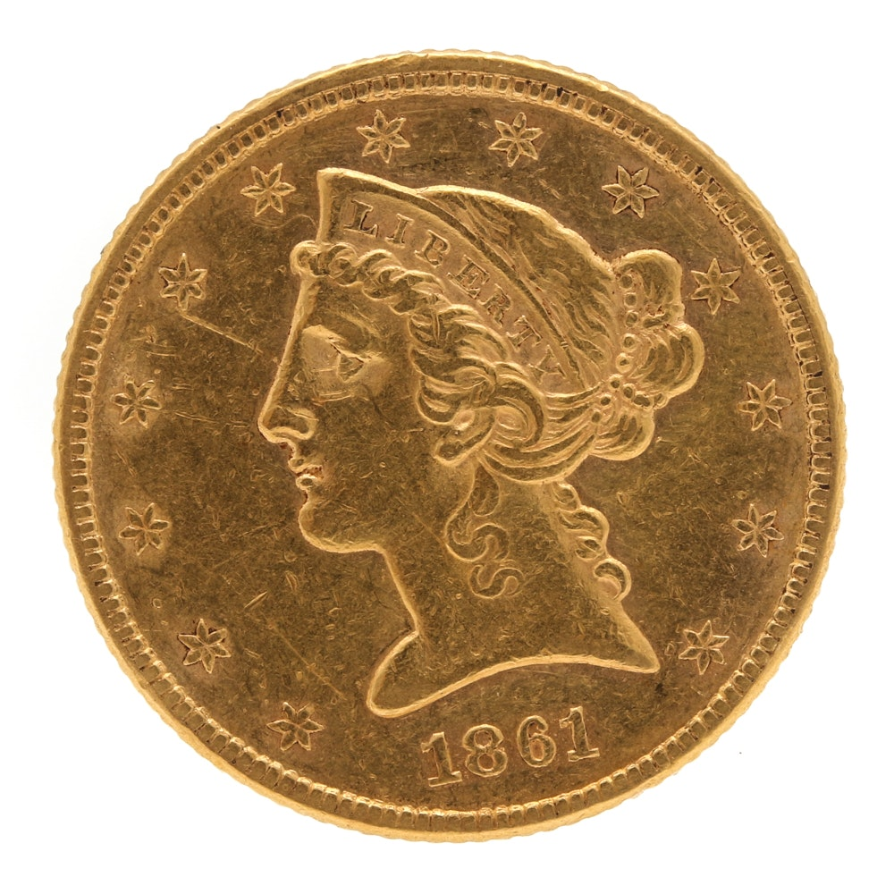 1861 Liberty Head $5 Gold Coin