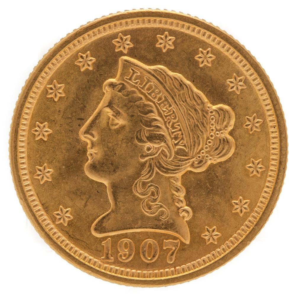 1907 Liberty Head $2 1/2 Gold Coin