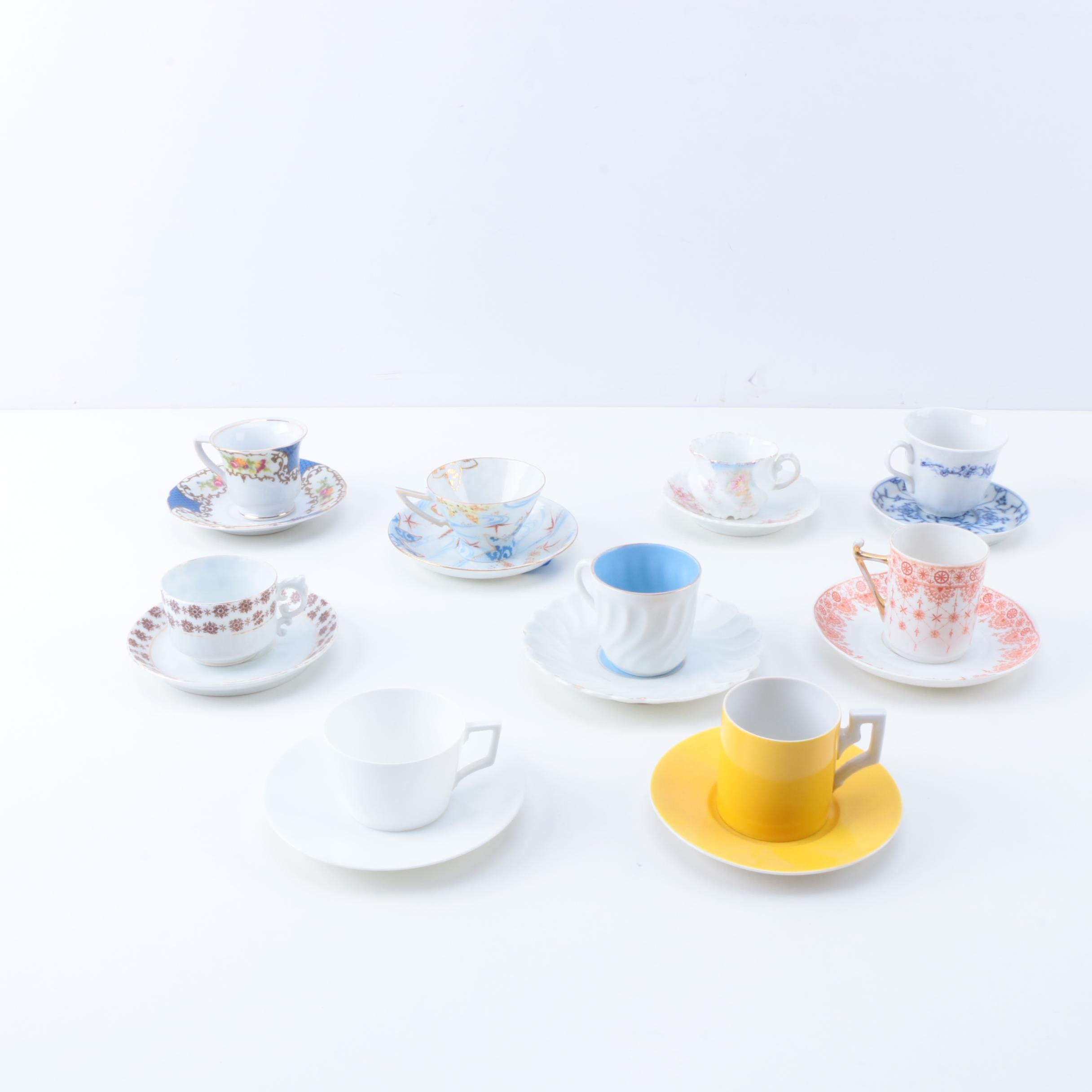Porcelain Teacups and Saucers Including Limoges and Royal Bayreuth