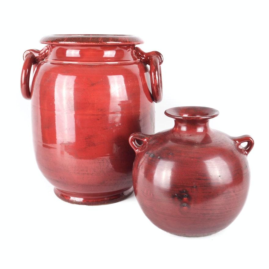 Large Italian Glazed Ceramic Vases Ebth