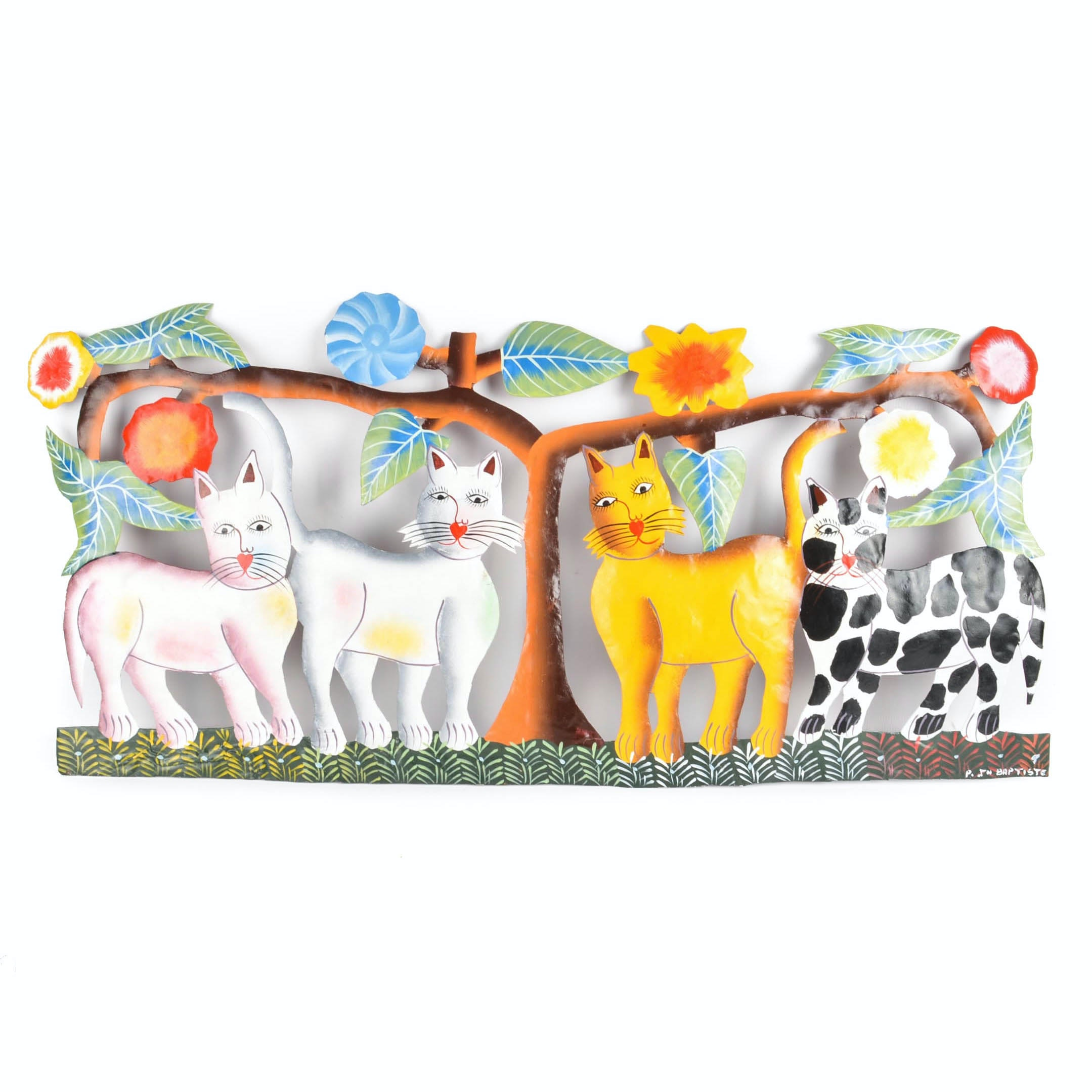 Handcrafted Haitian Metal Cat Theme Wall Art