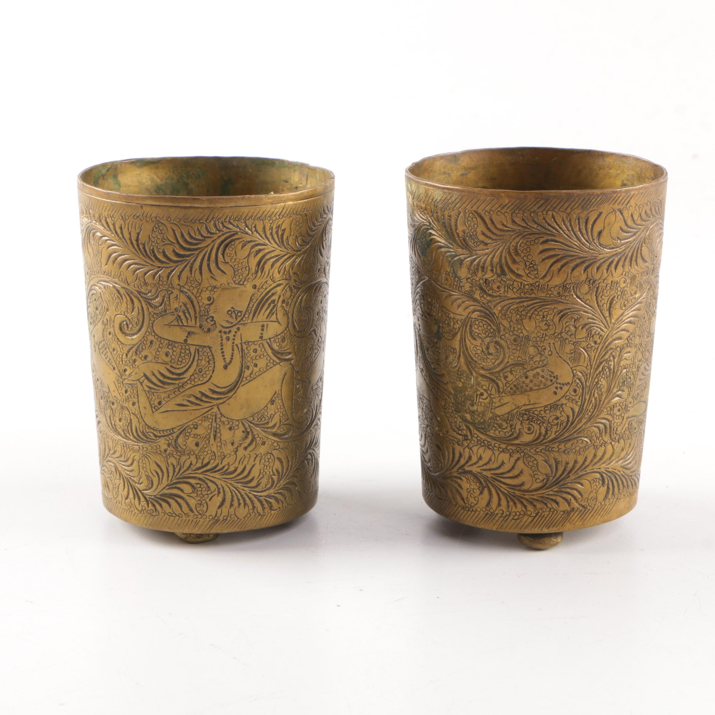 Two Brass Cups with Etched Thai Dancer Motif