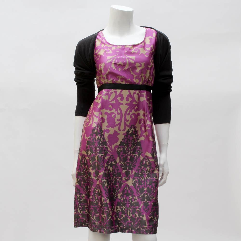 """Delia's"" Printed Dress with Knit Bolero"