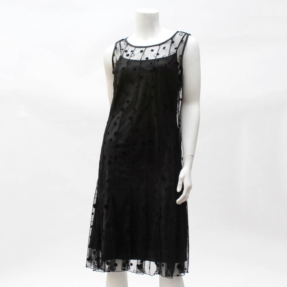"""""""Sandra Darren"""" Black Slip Dress with Net Overdress"""