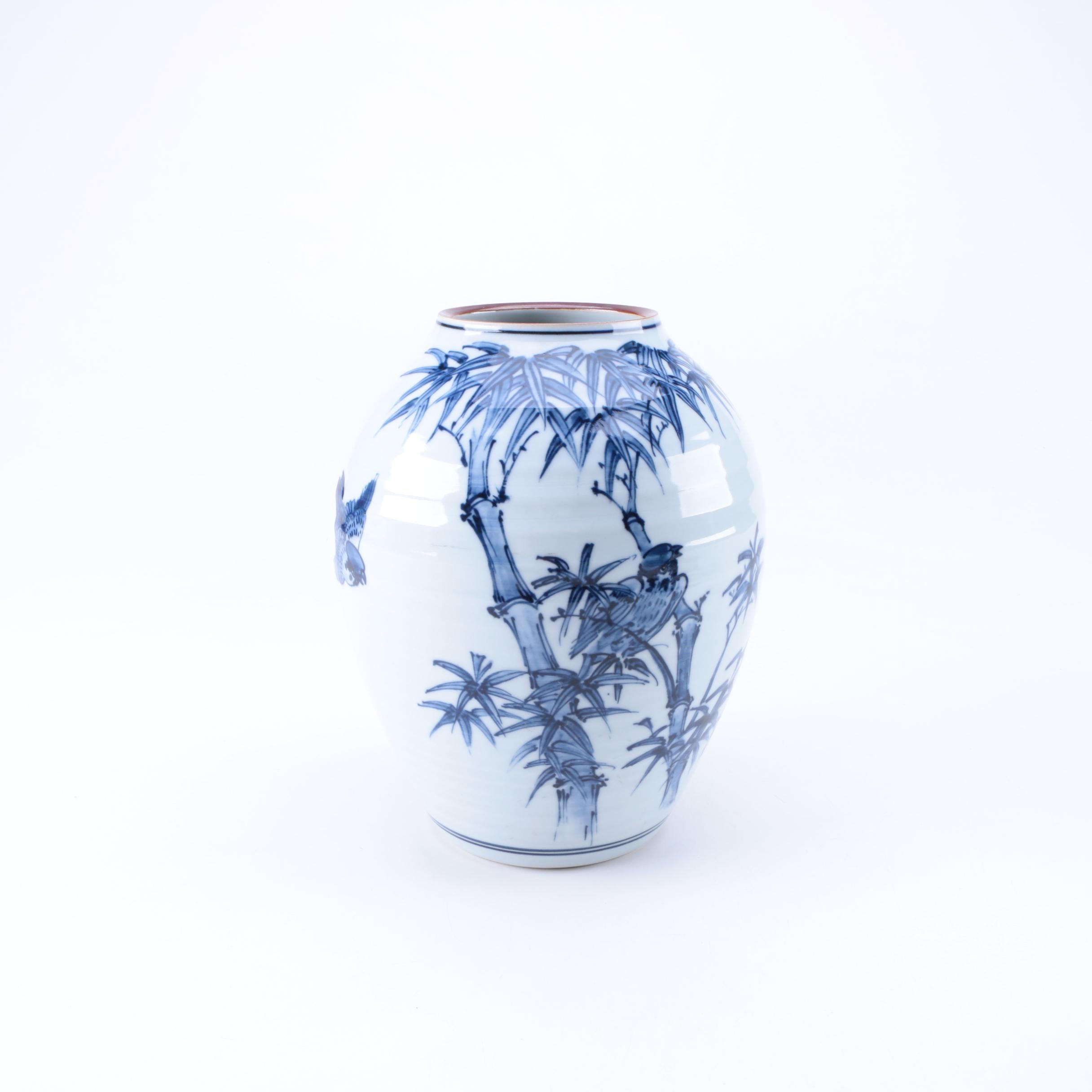 Japanese Blue and White Ceramic Vase