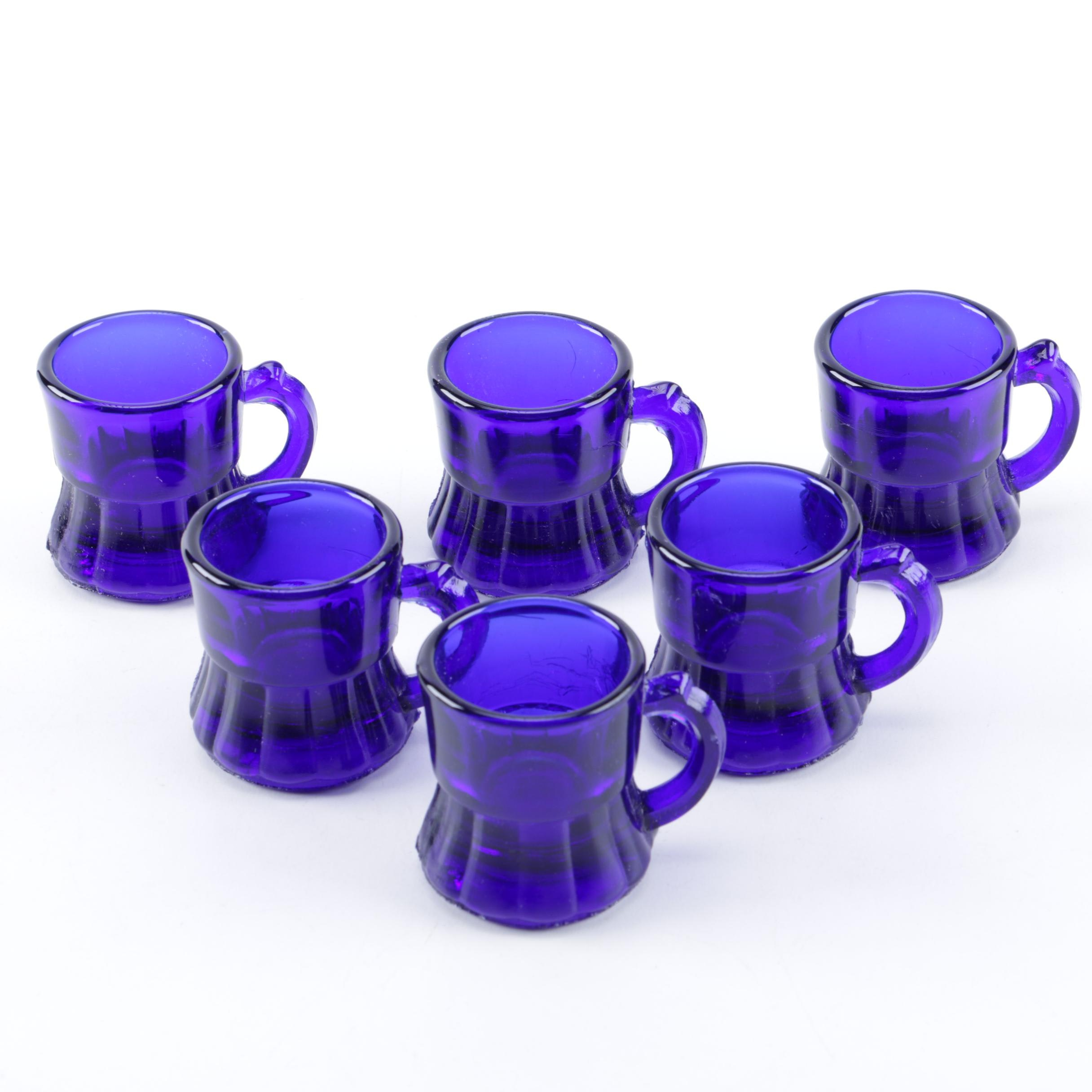 Set of Cobalt Blue Glass Diminutive Mugs