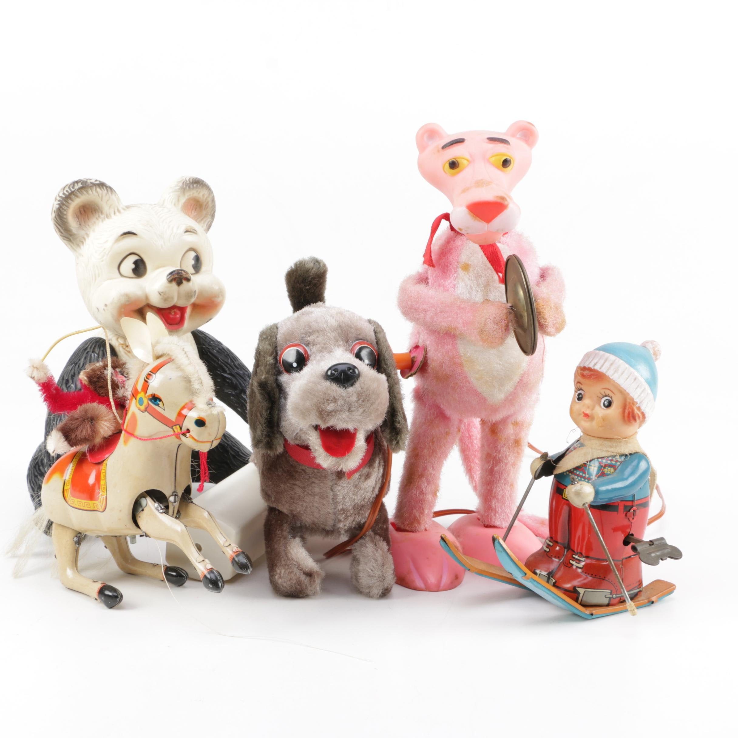 Vintage Toys Including Tin Litho Wind-Up Toys