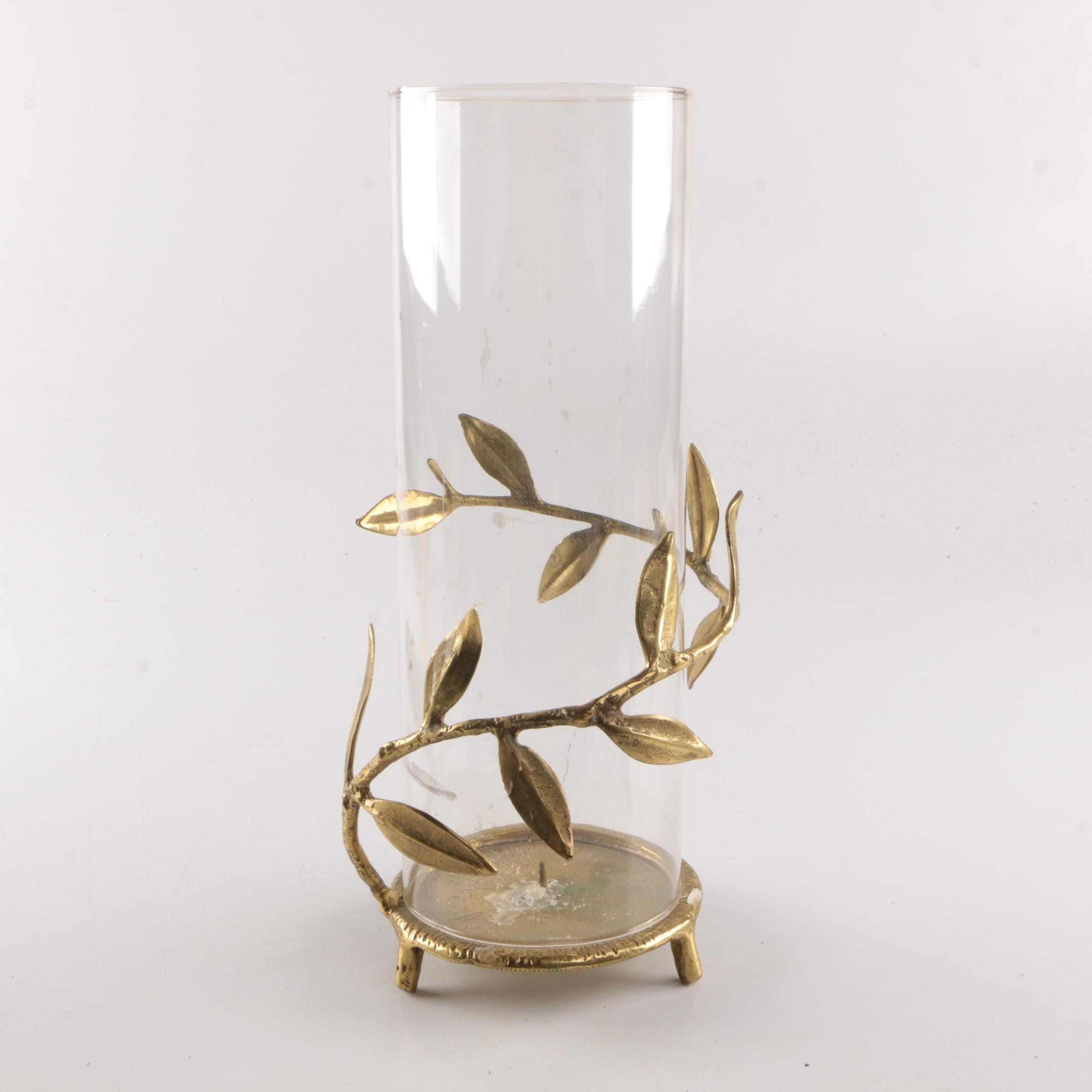 Brass Candleholder with Hurricane Glass