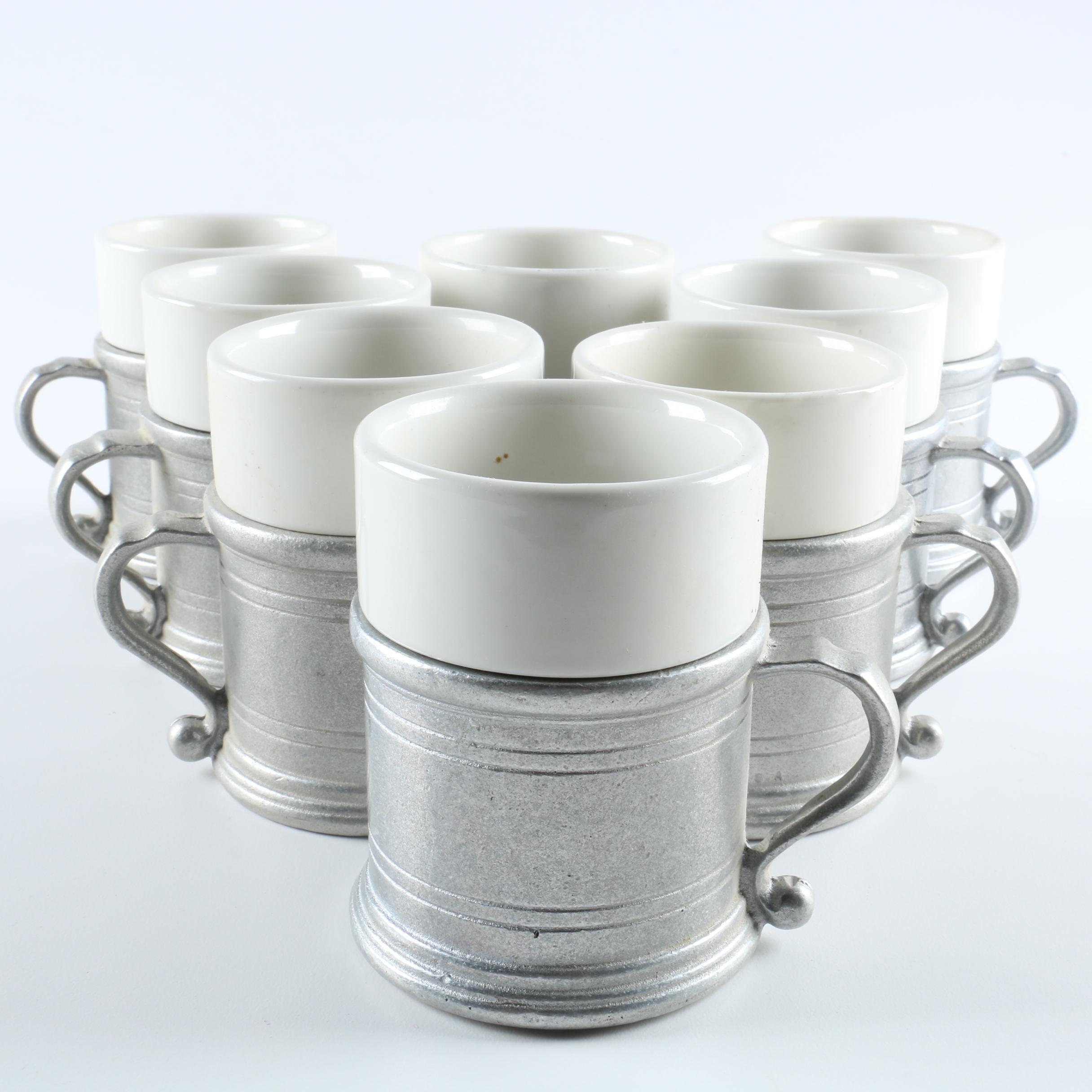 Wilton Armetale Ceramic and Pewter Mug Sets