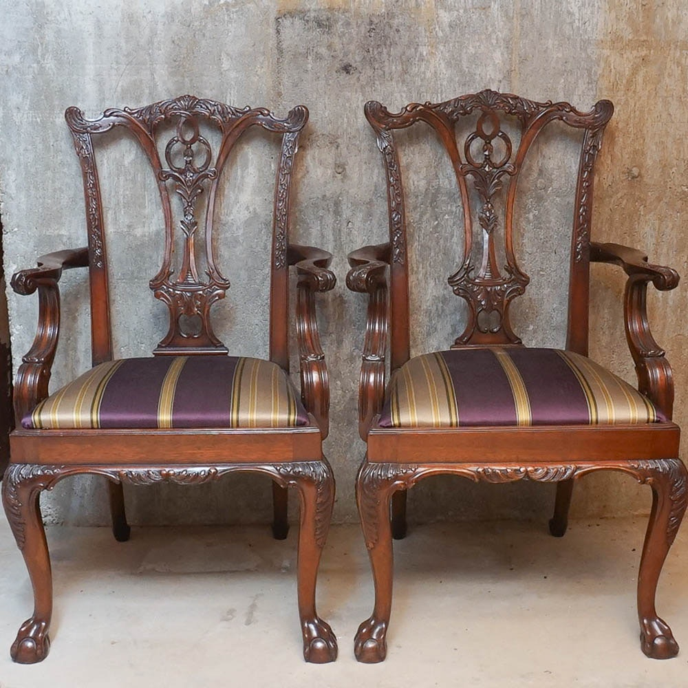 Pair of Carved Mahogany Chippendale Style Armchairs