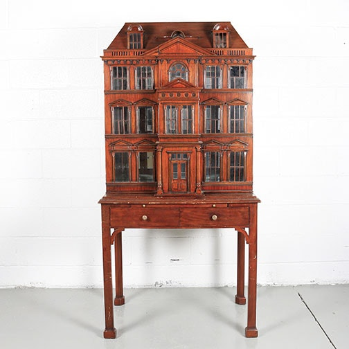 Mahogany Architectural Bar Cabinet with Desk by Maitland-Smith