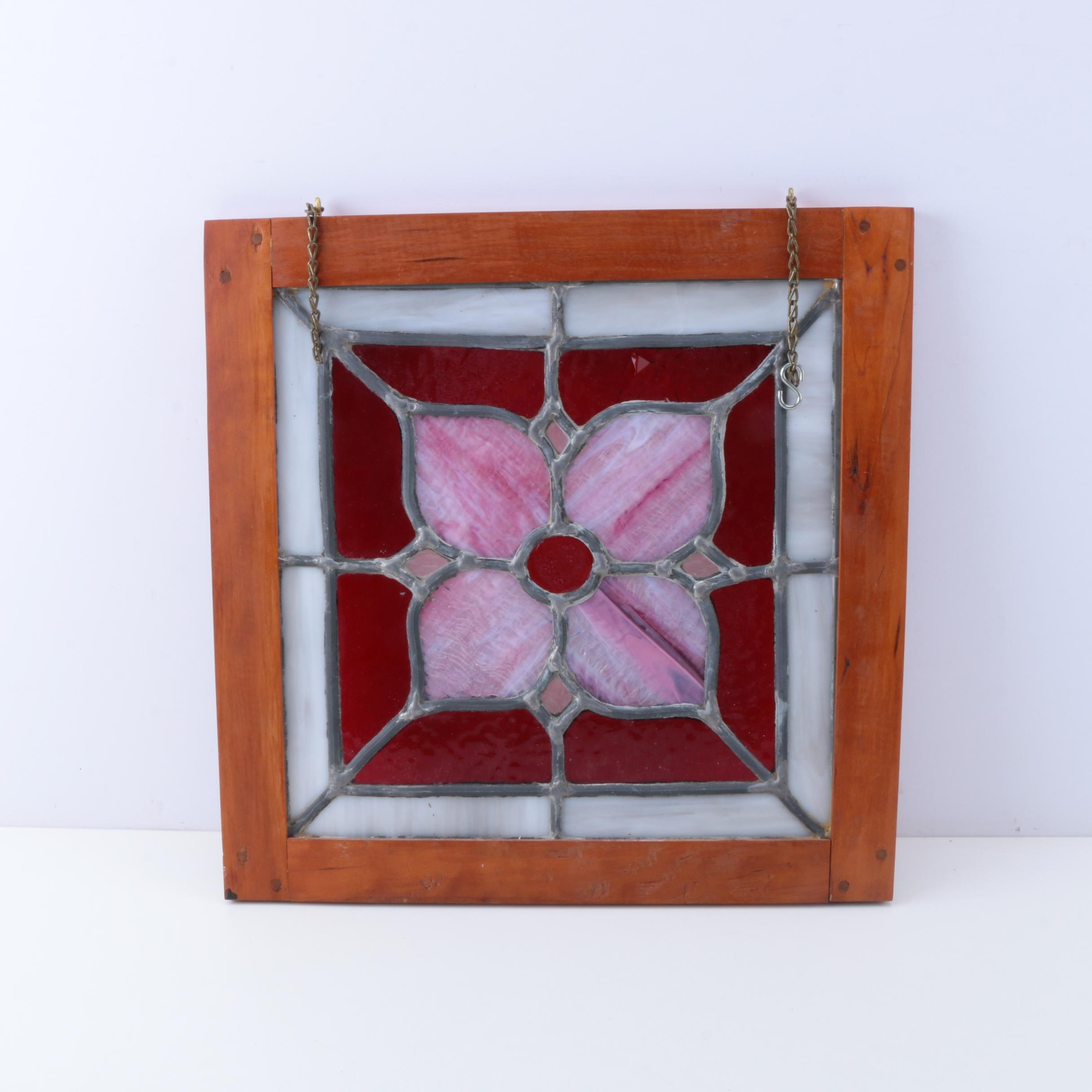 Framed Stained Glass Flower Decor