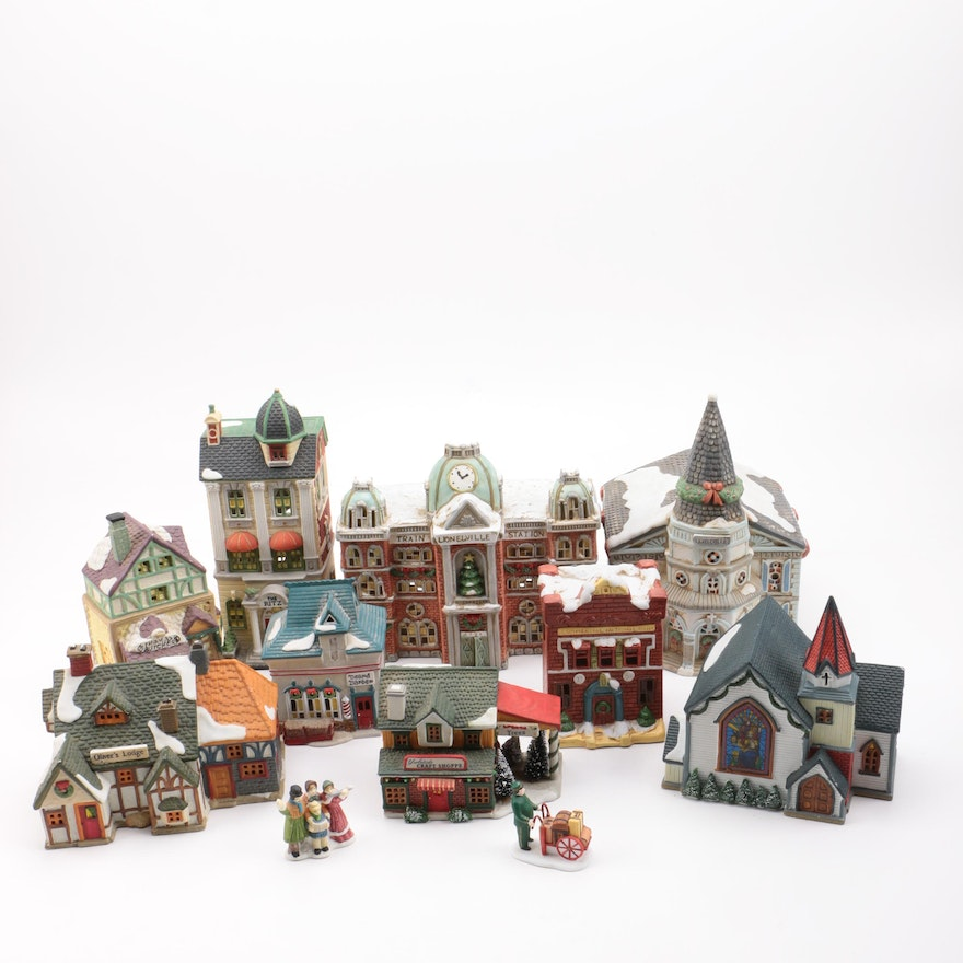 ceramic christmas village including lionelville and dickensville
