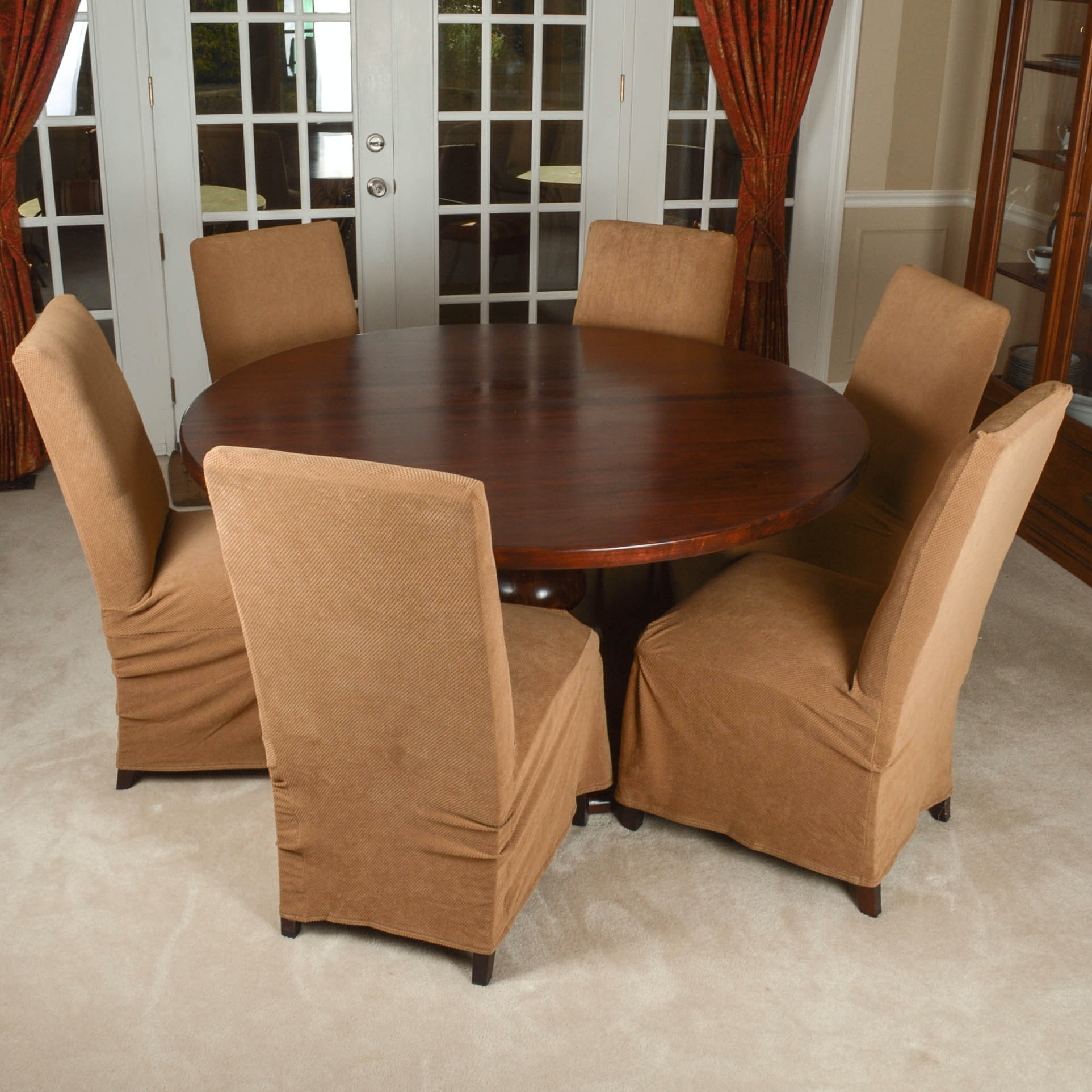 """Arhaus Furniture """"Tuscany"""" Dining Table and Six Parsons Chairs"""