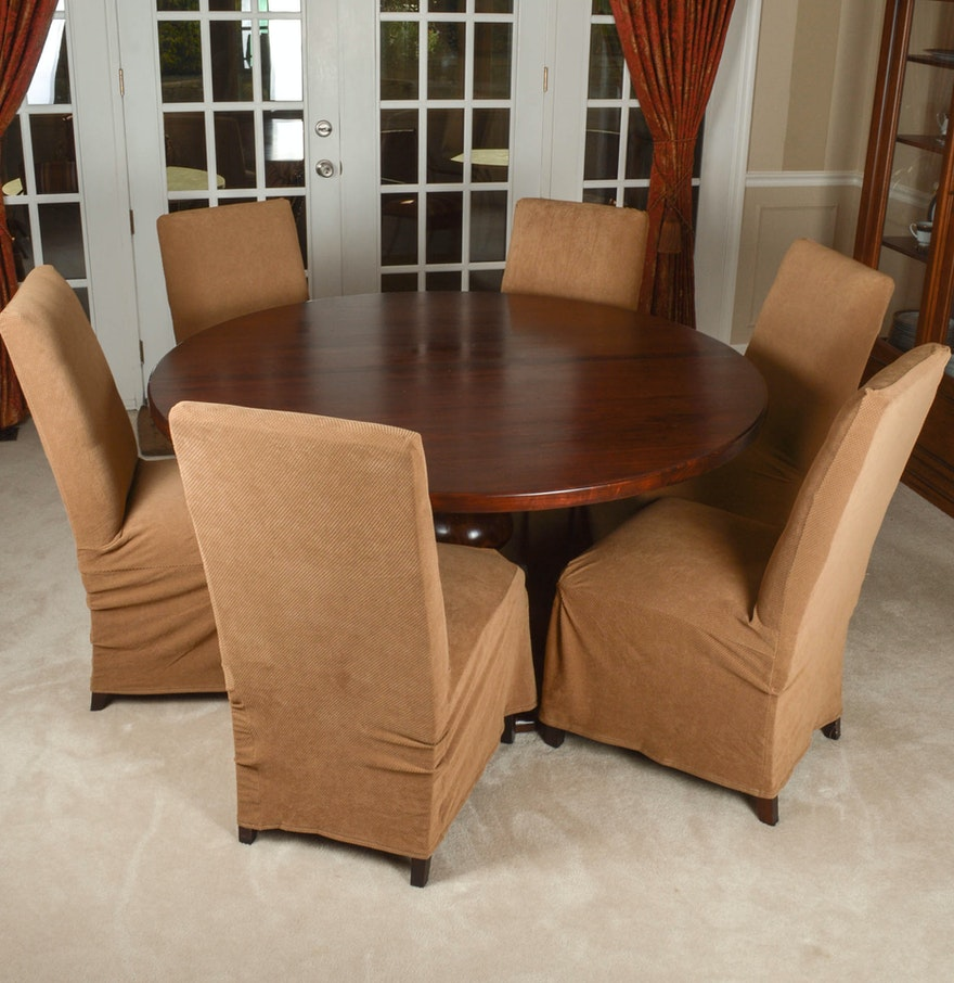 arhaus furniture tuscany dining table and six parsons chairs ebth. Black Bedroom Furniture Sets. Home Design Ideas