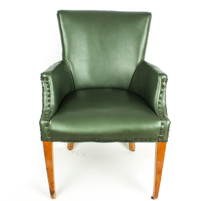 1950s Green Vinyl Upholstered Arm Chair