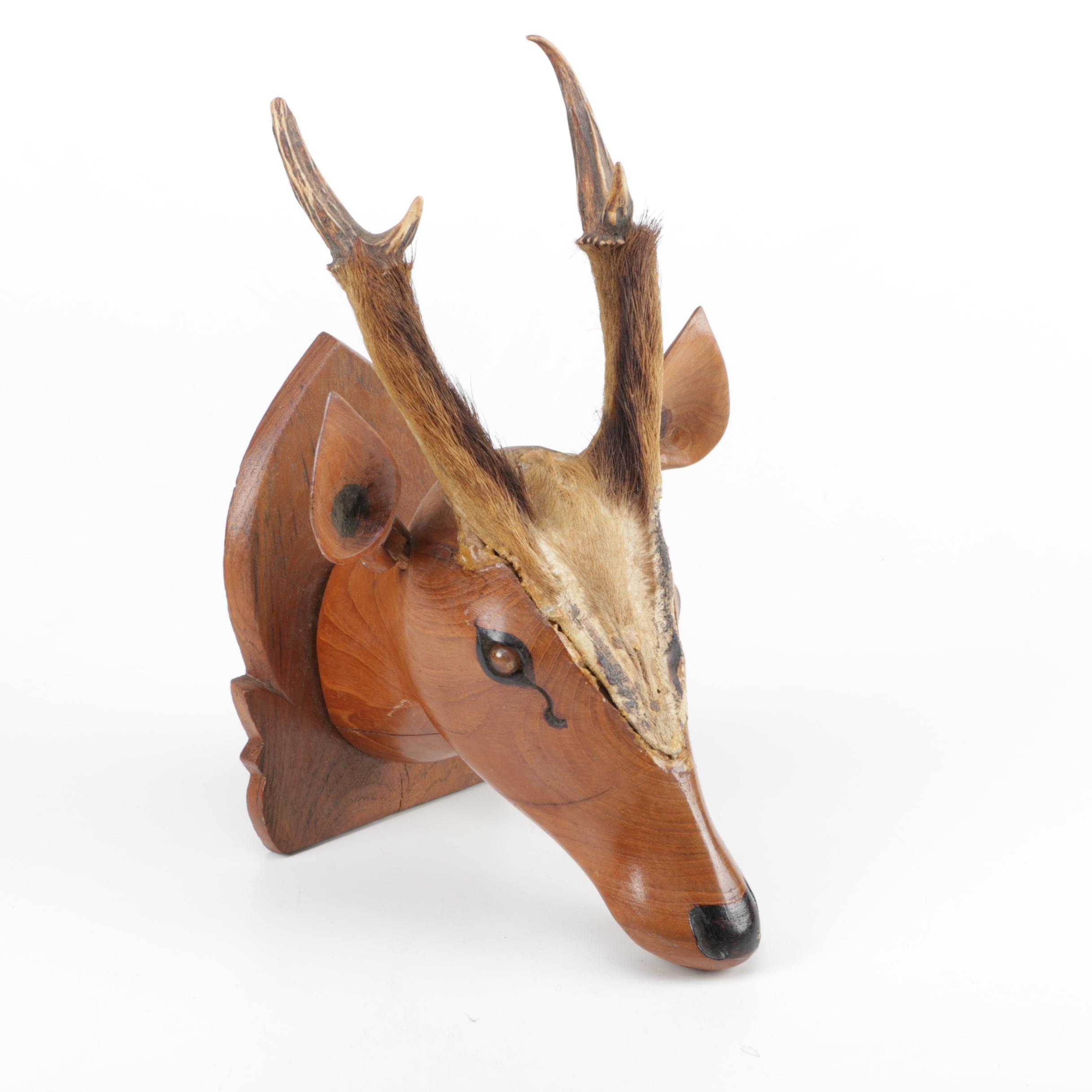 Carved Wood Deer Head Mount with Antlers
