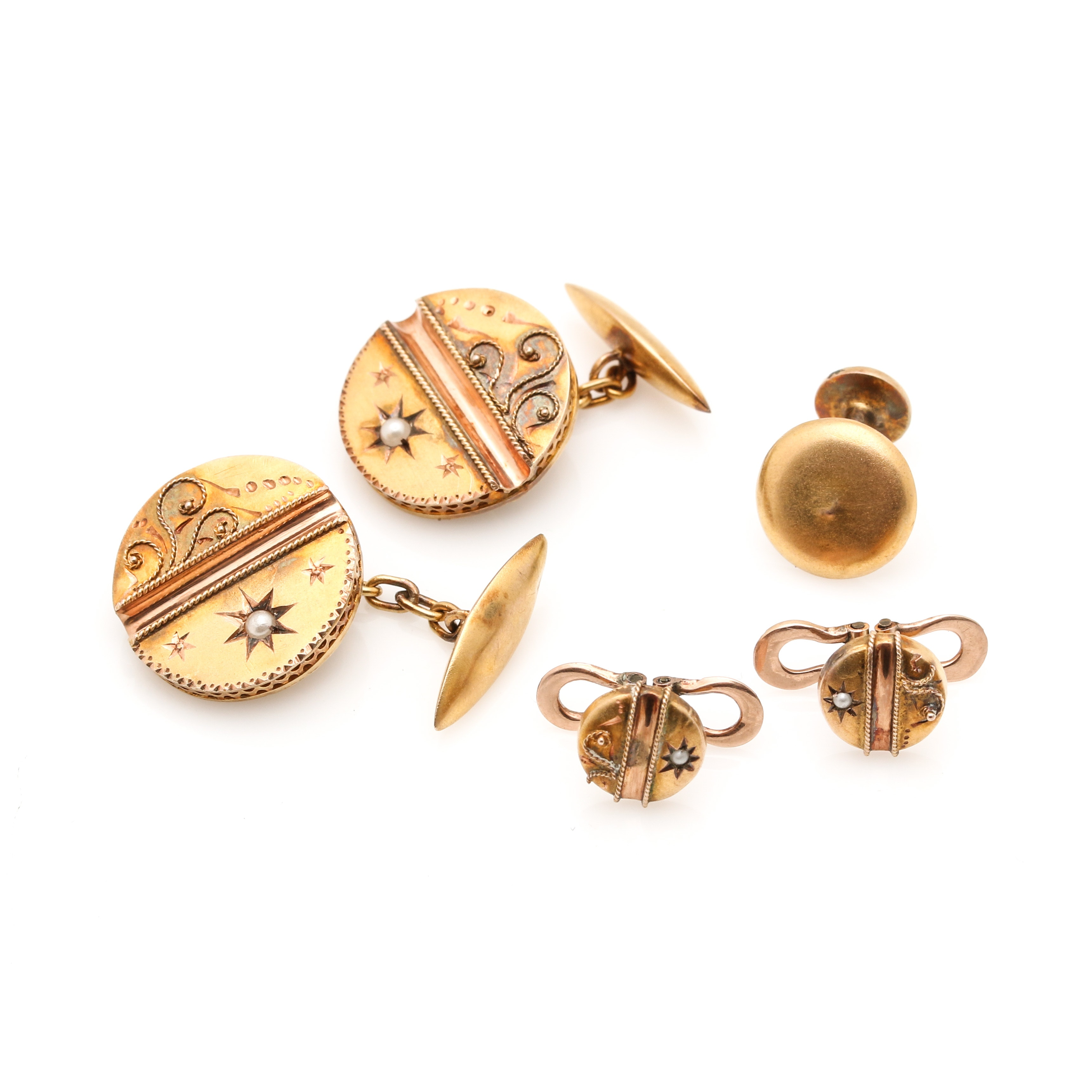 Selection of 12K Yellow Gold Pearl Cufflinks, Studs and 14K Yellow Gold Scrap