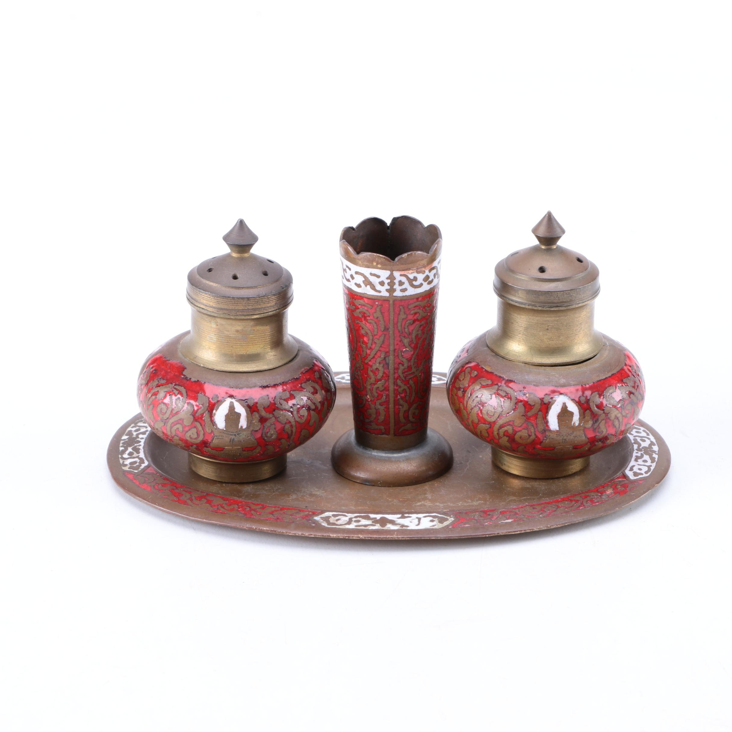 South Asian Champlevé Shaker Set with Toothpick Holder