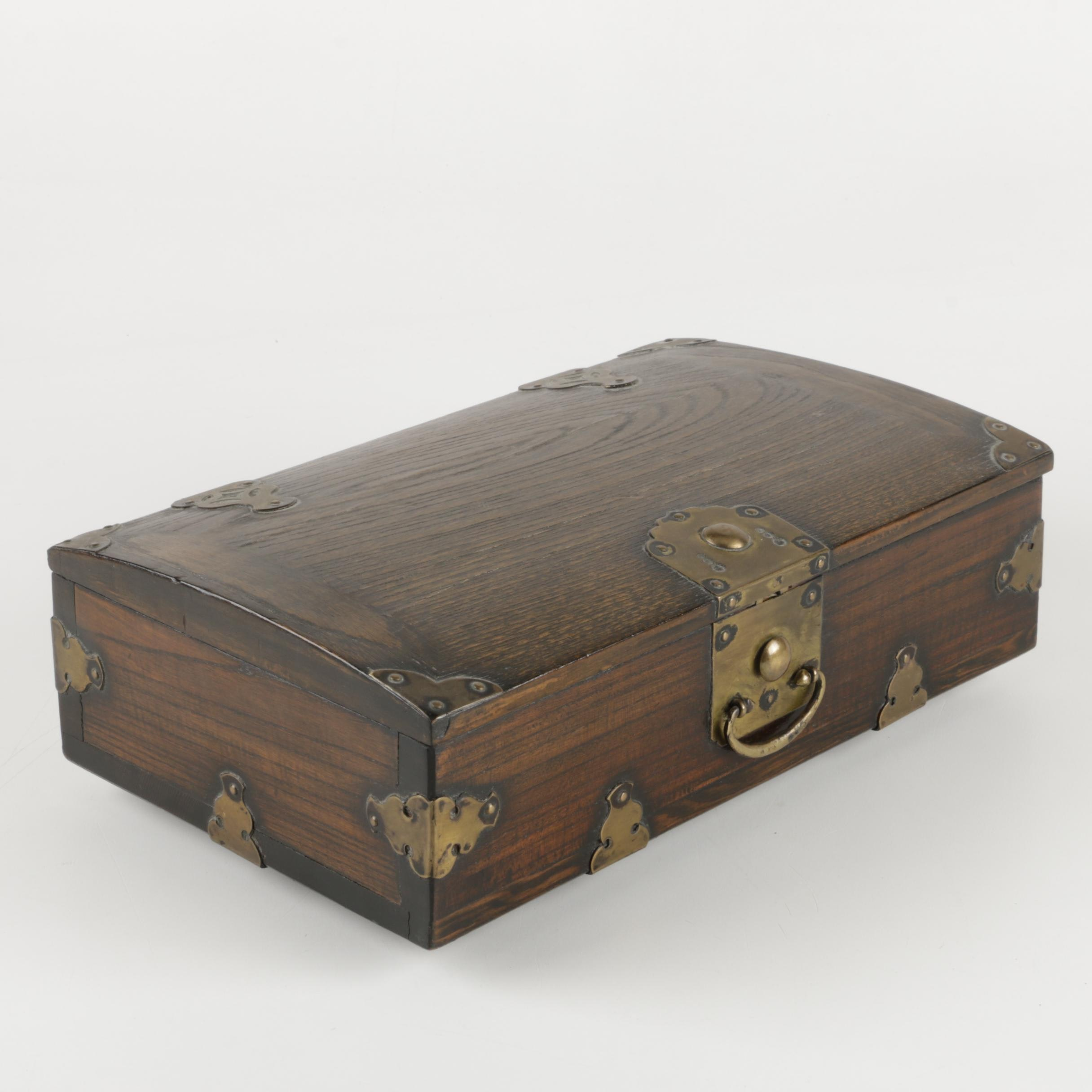 Vintage Wooden Box with a Curved Lid