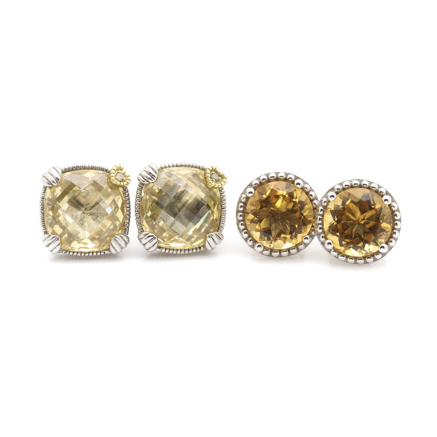 Judith Ripka Sterling Silver Citrine Cubic Ziconia And Diamond Stud Earrings