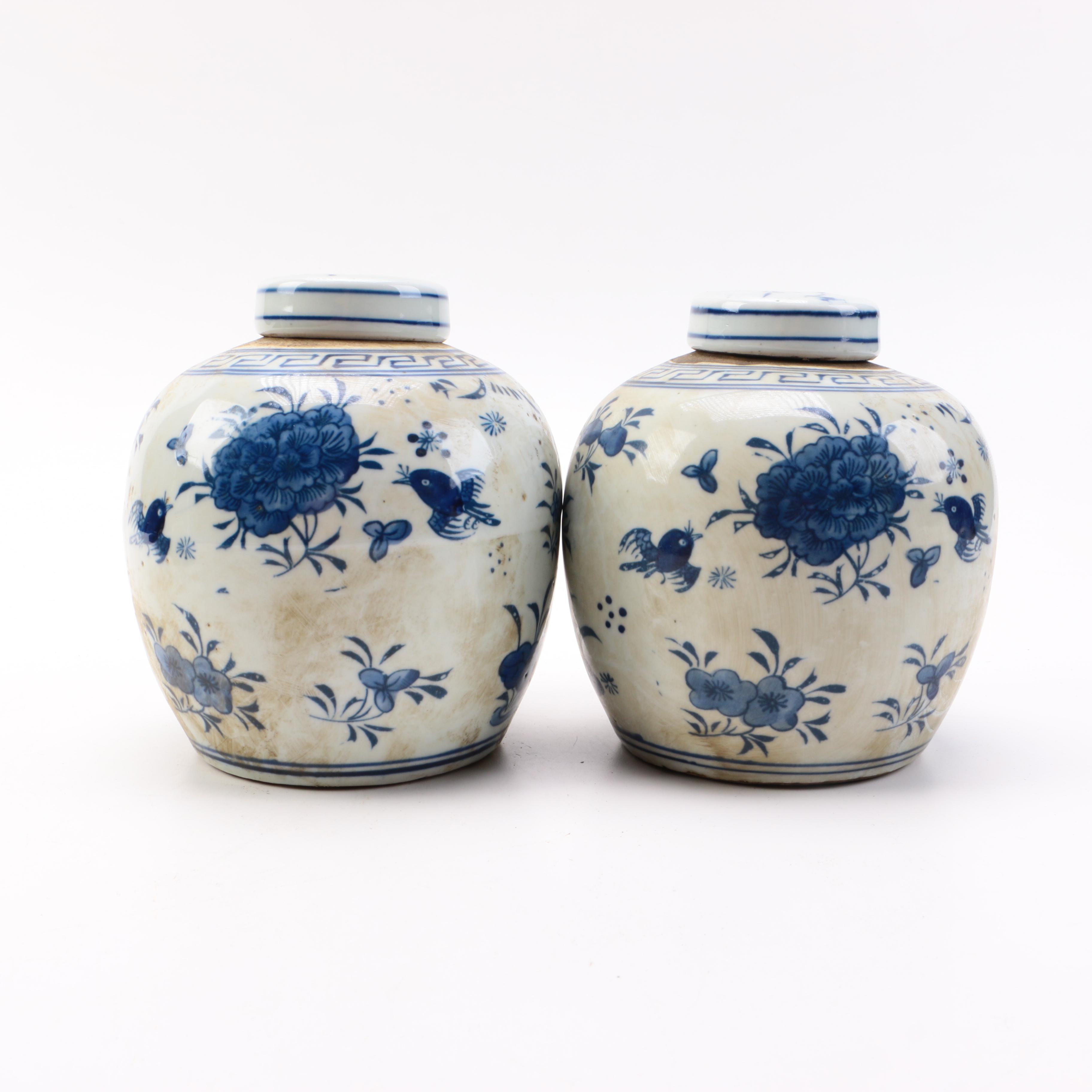 Pair of Blue and White Ceramic Floral Ginger Jars