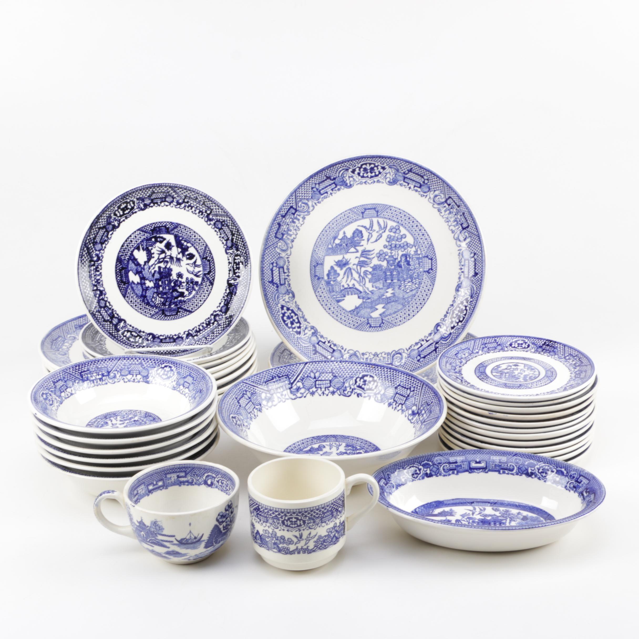 Assorted Blue Willow Dinnerware