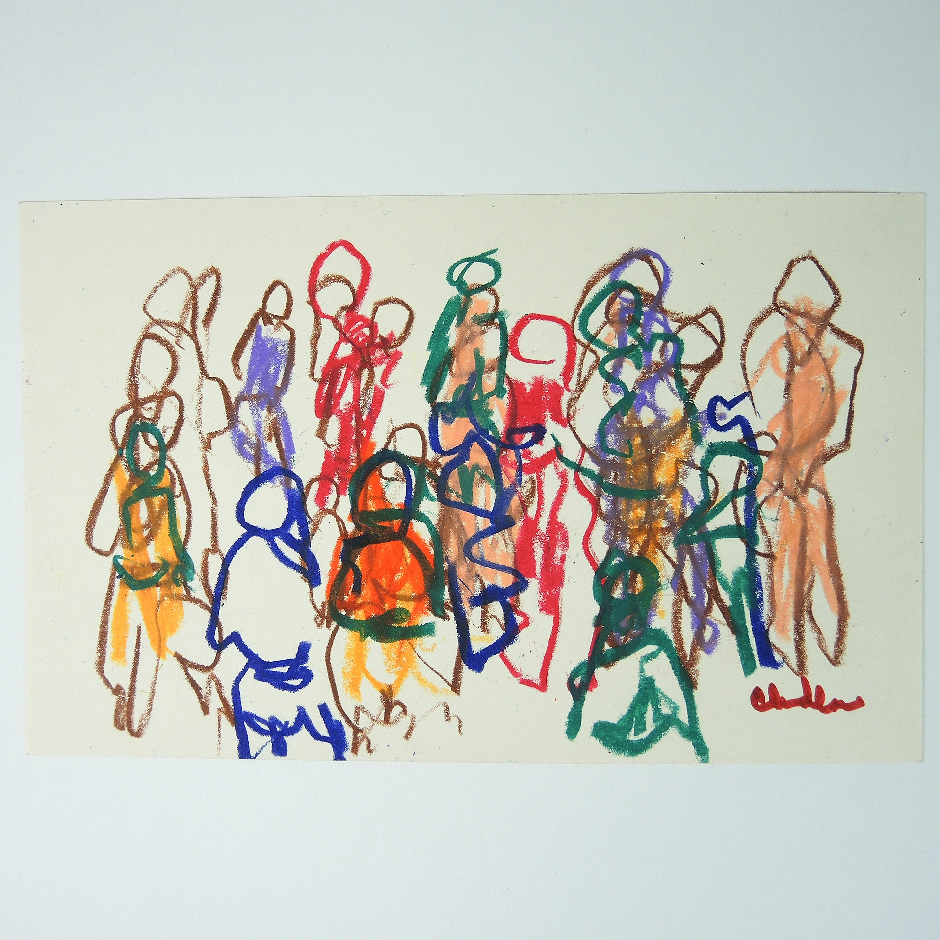 Paul Chidlaw Mixed Media on Paper Abstract Expressionism Gestural Crowd