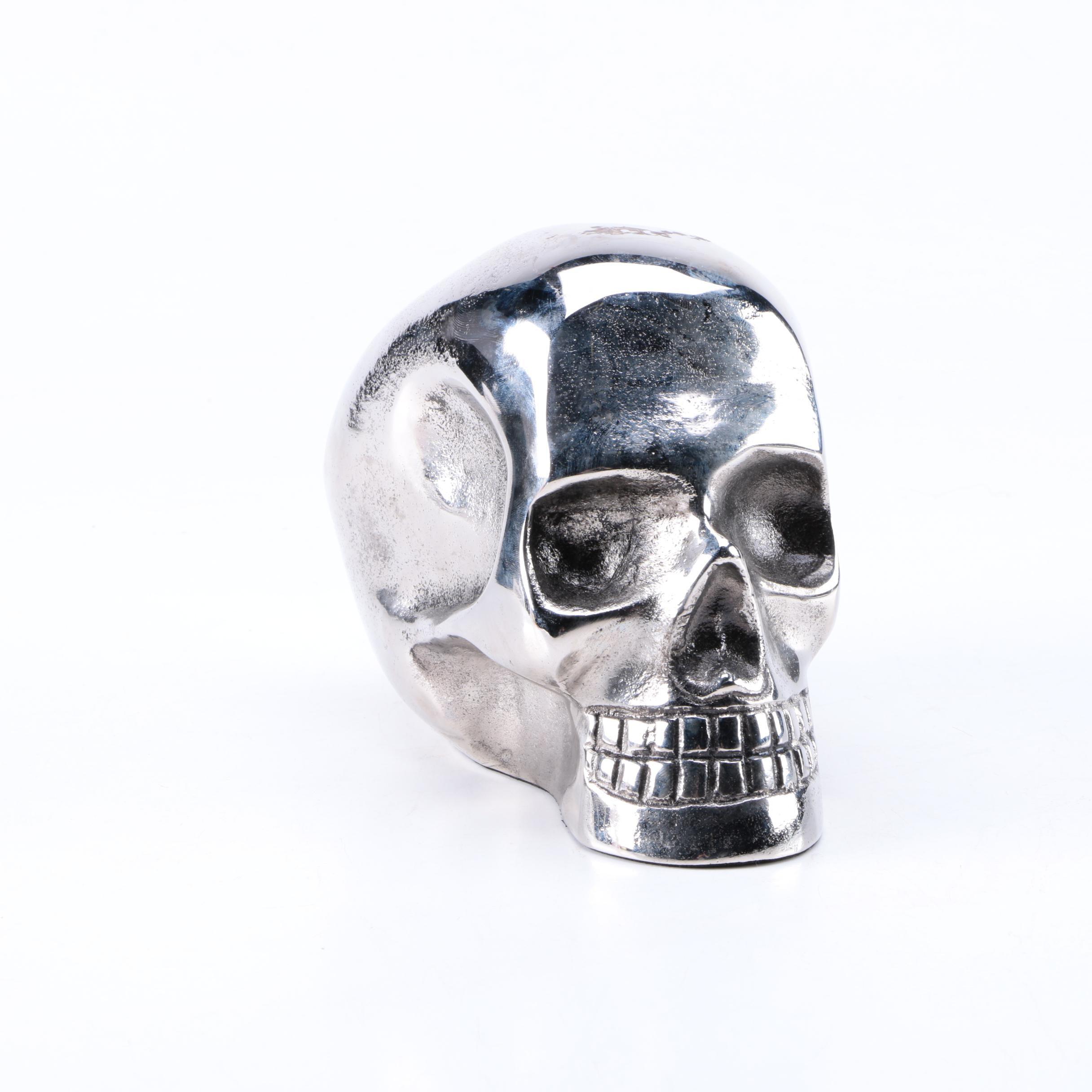 Silver Tone Metal Skull Figurine