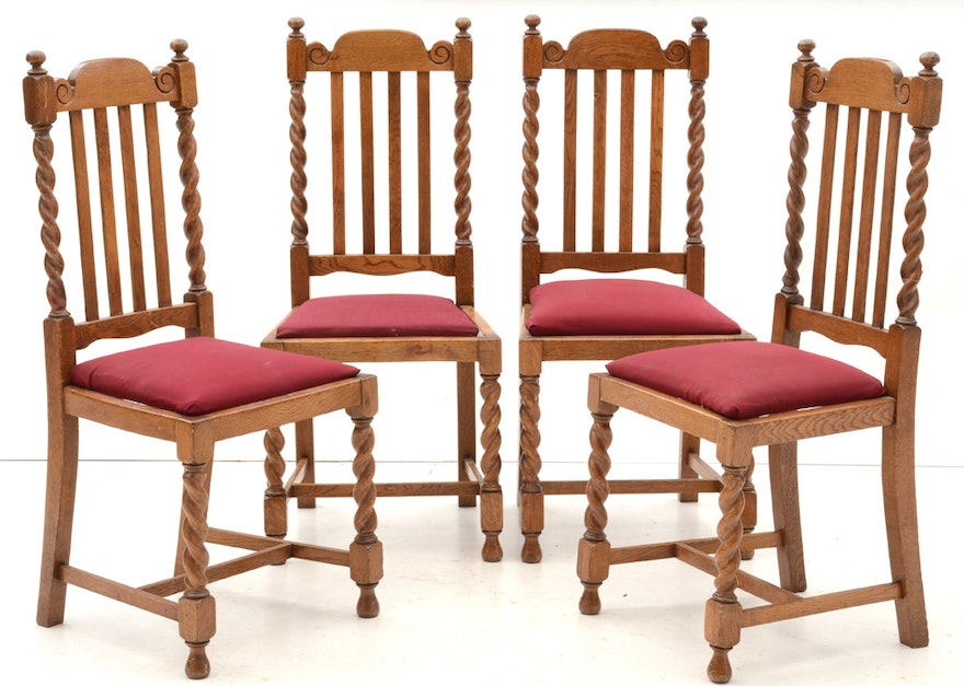 Antique Jacobean Revival Oak Dining Table and Side Chairs