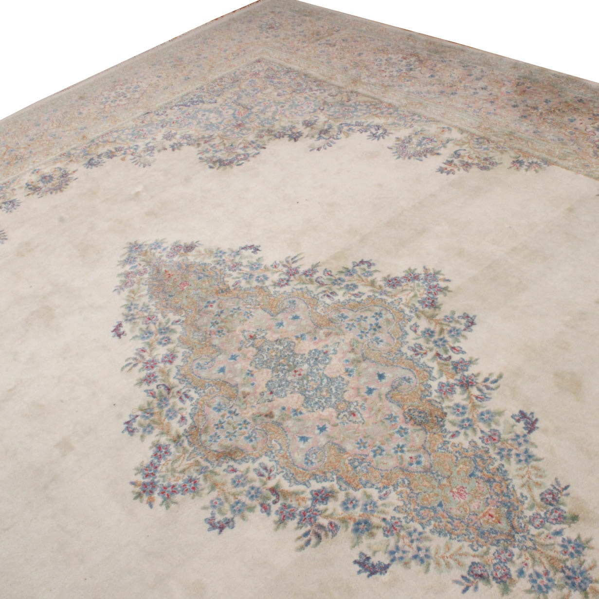Room Sized Hand-Knotted Signed Kerman Area Rug