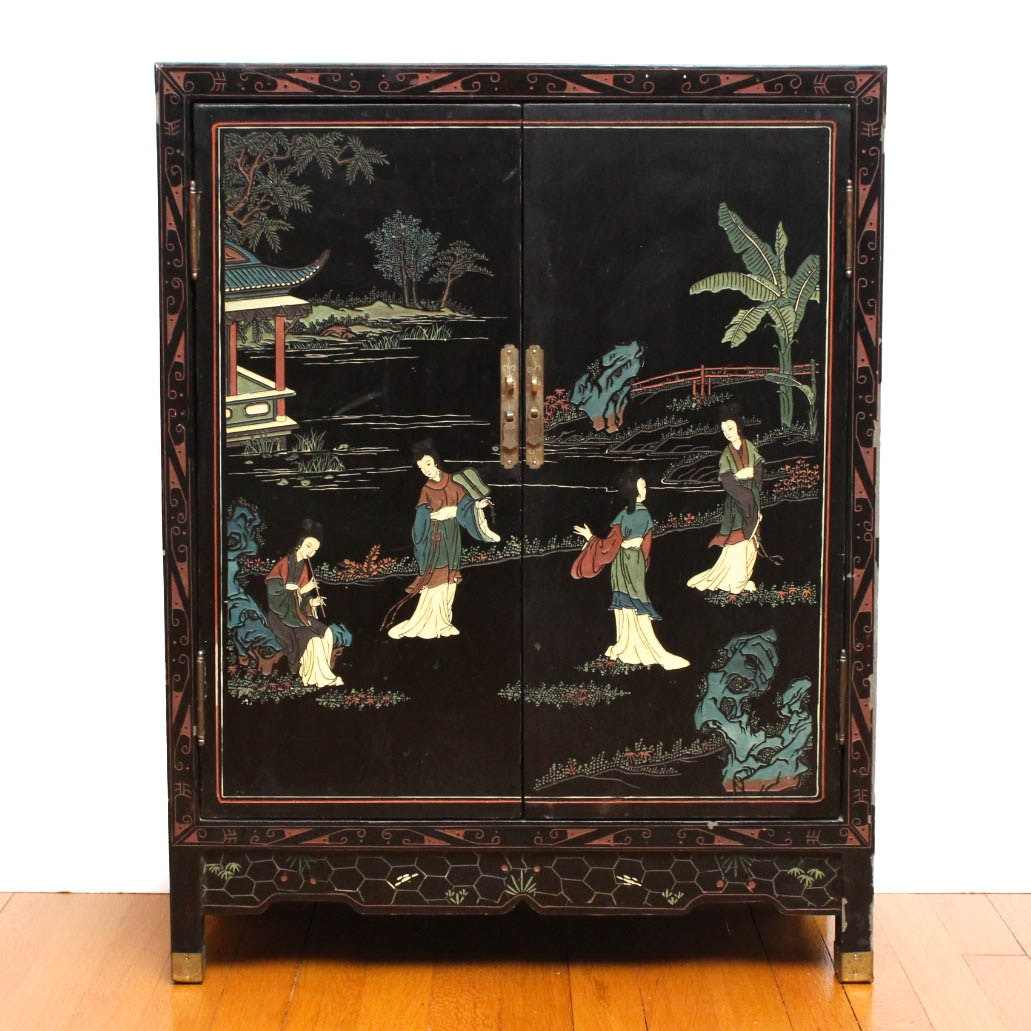 Chinoiserie Black Lacquer Cabinet
