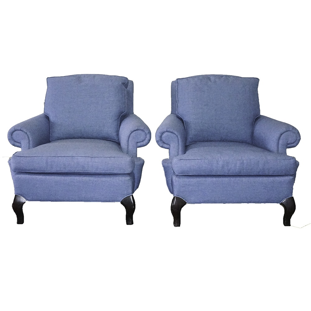 Pair of Down-Filled  Upholstered Chairs