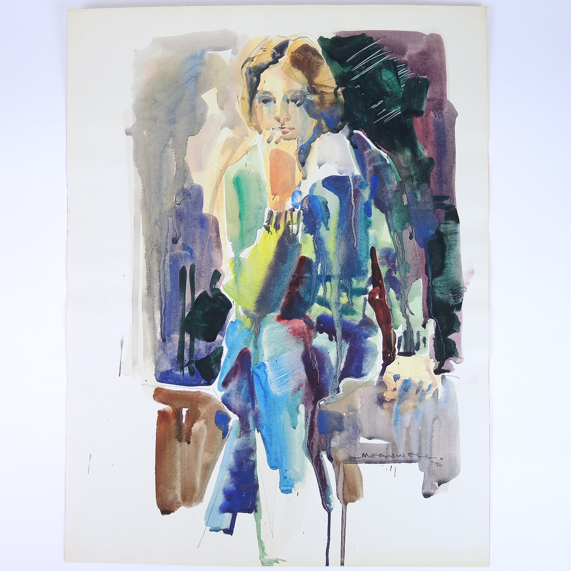 Jack Meanwell Watercolor on Paper Abstract Expressionism 1976 Woman in Thought