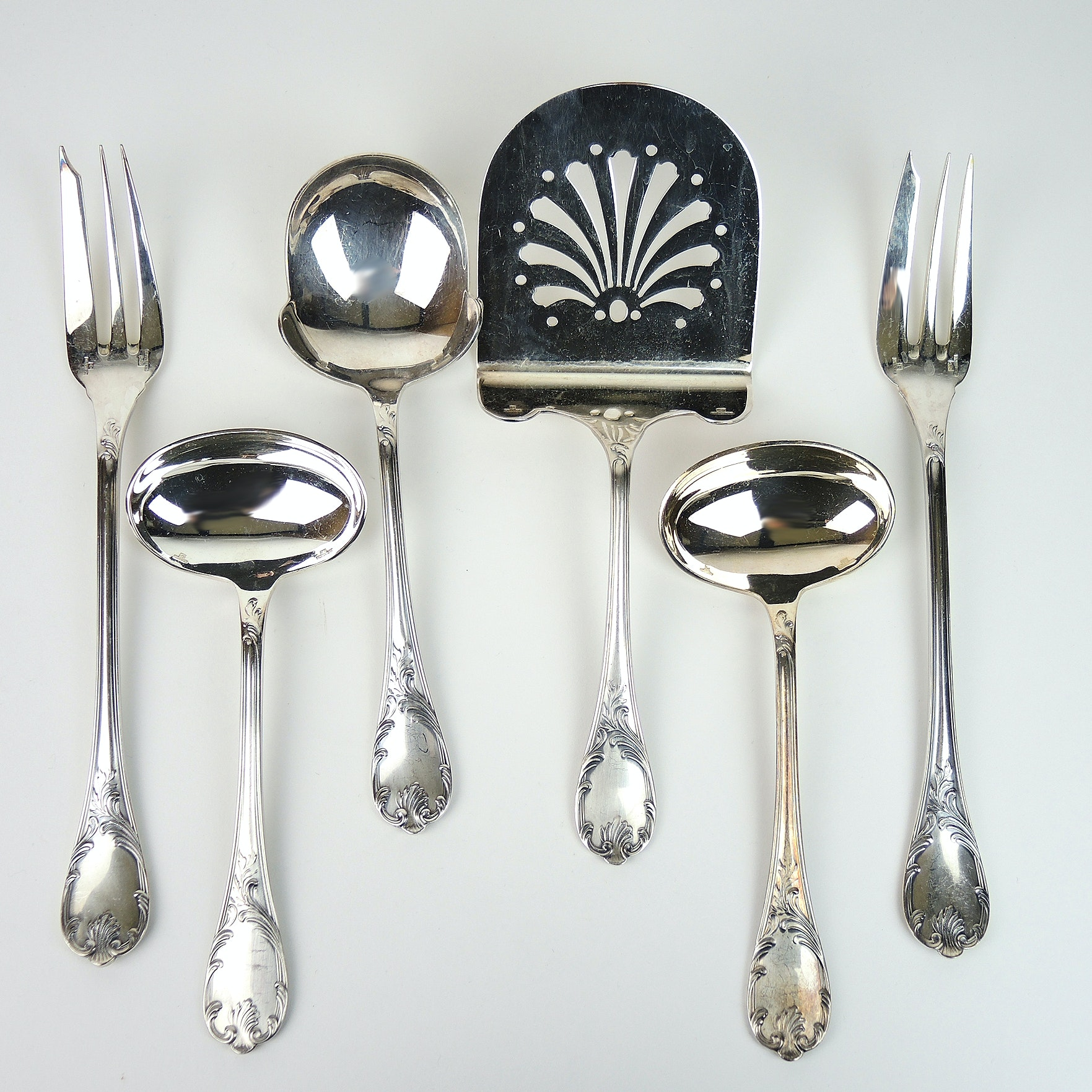 """Christofle """"Marly"""" Silver Plate Serving Utensils"""