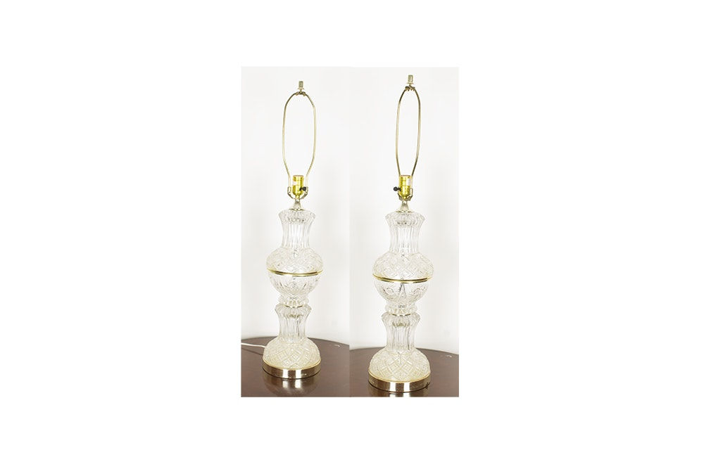 Pair Of Vintage Crystal Clear Industries Table Lamps ...