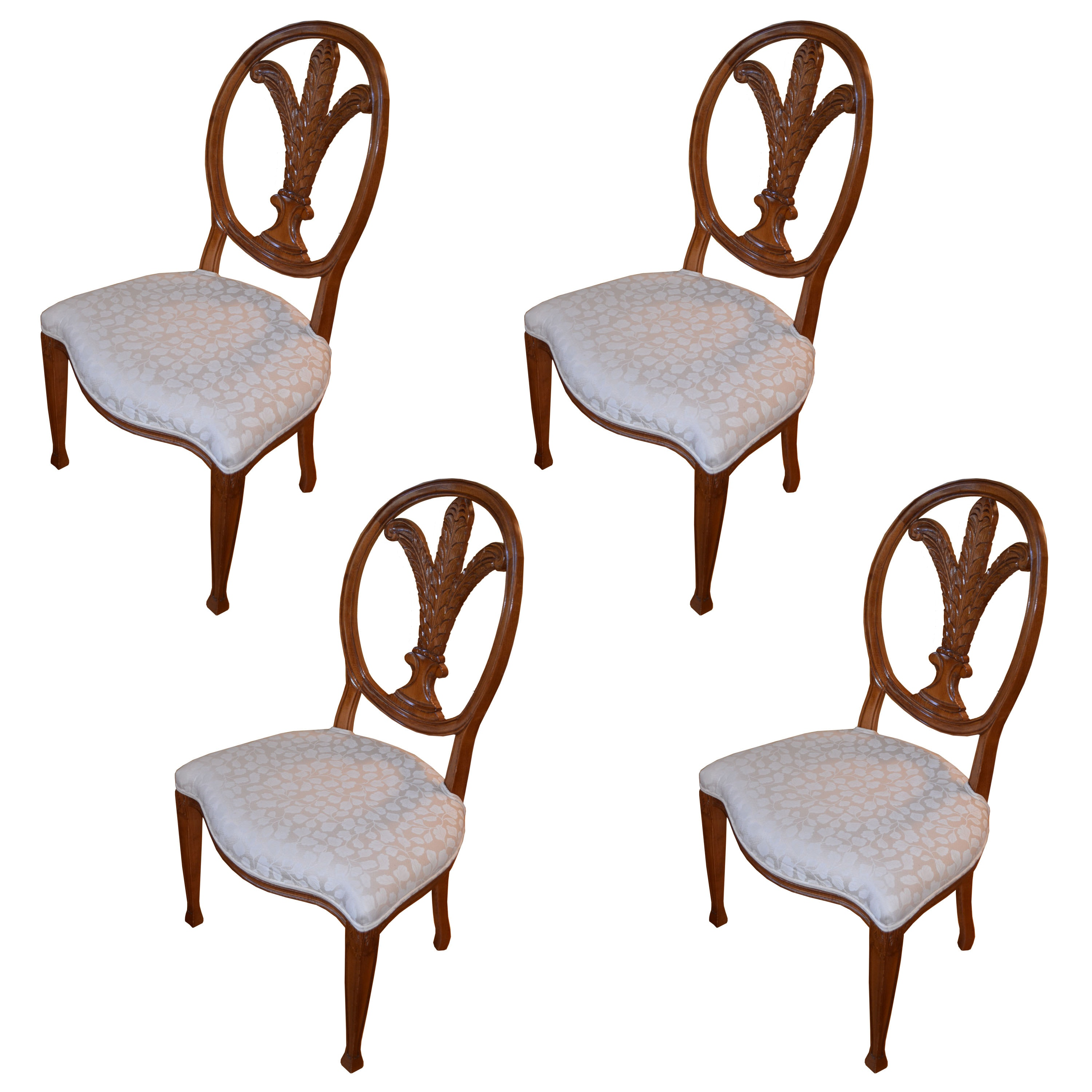 Vintage Adams Style Carved Back Beech Dining Chairs ...