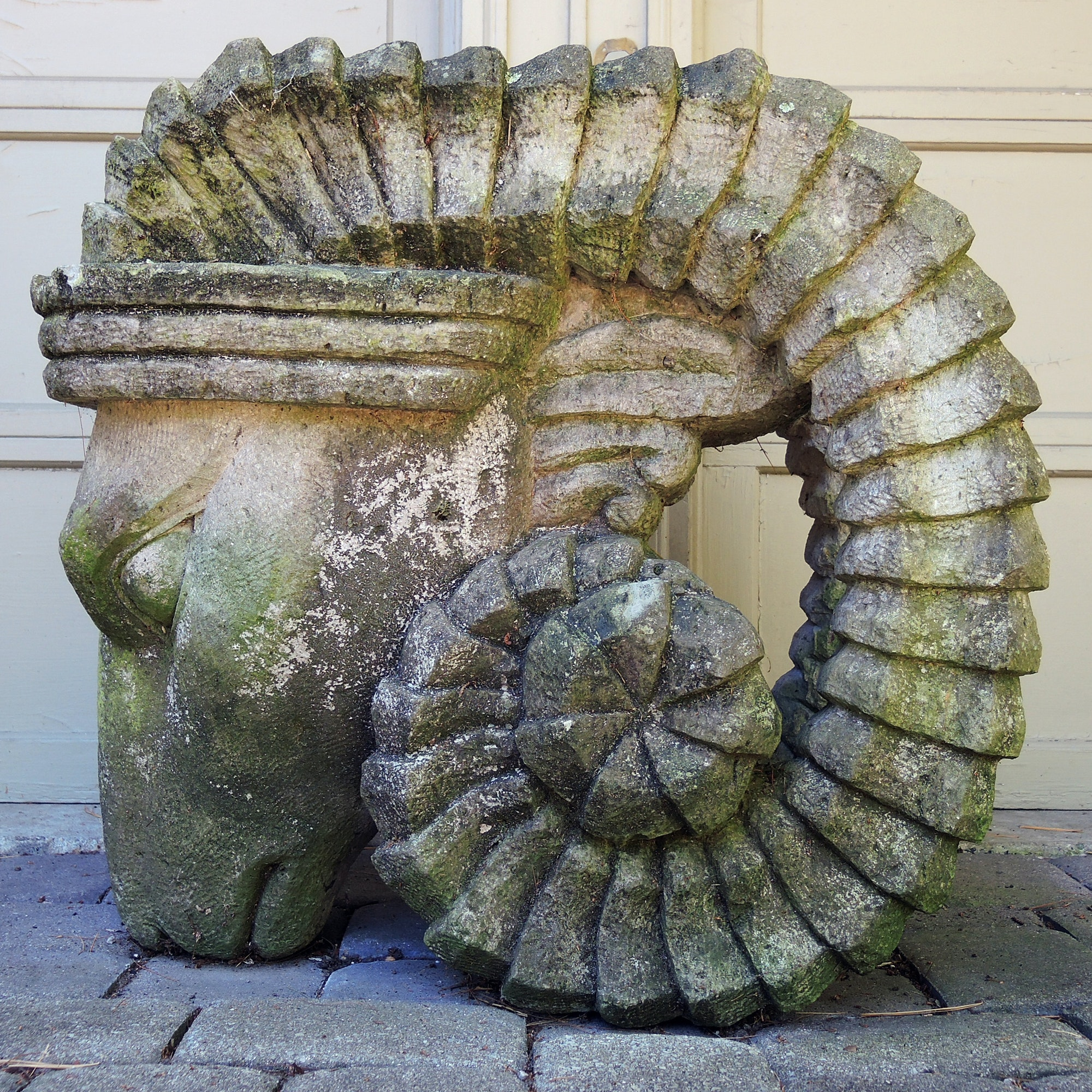 Large Ram's Head Carved Limestone Garden Sculpture