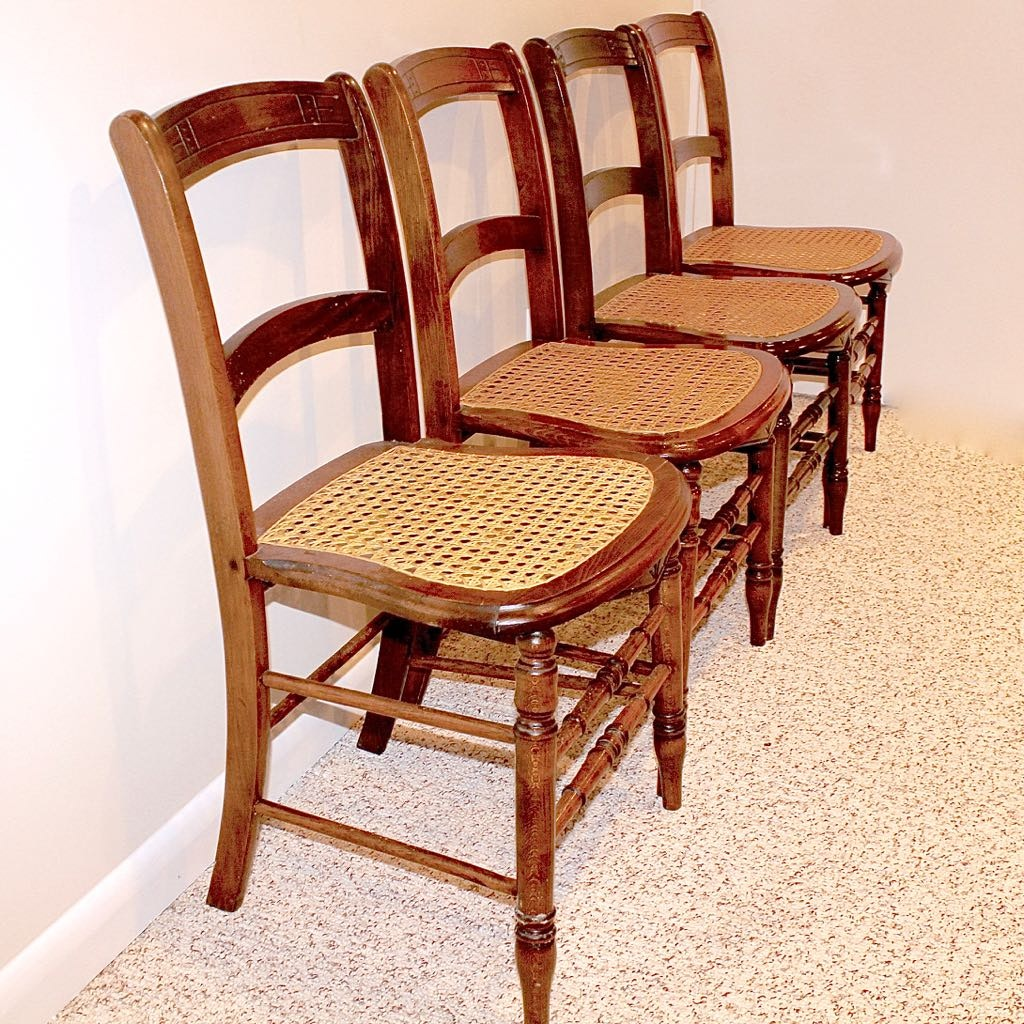 Great Four Vintage Cane Seat Chairs ...
