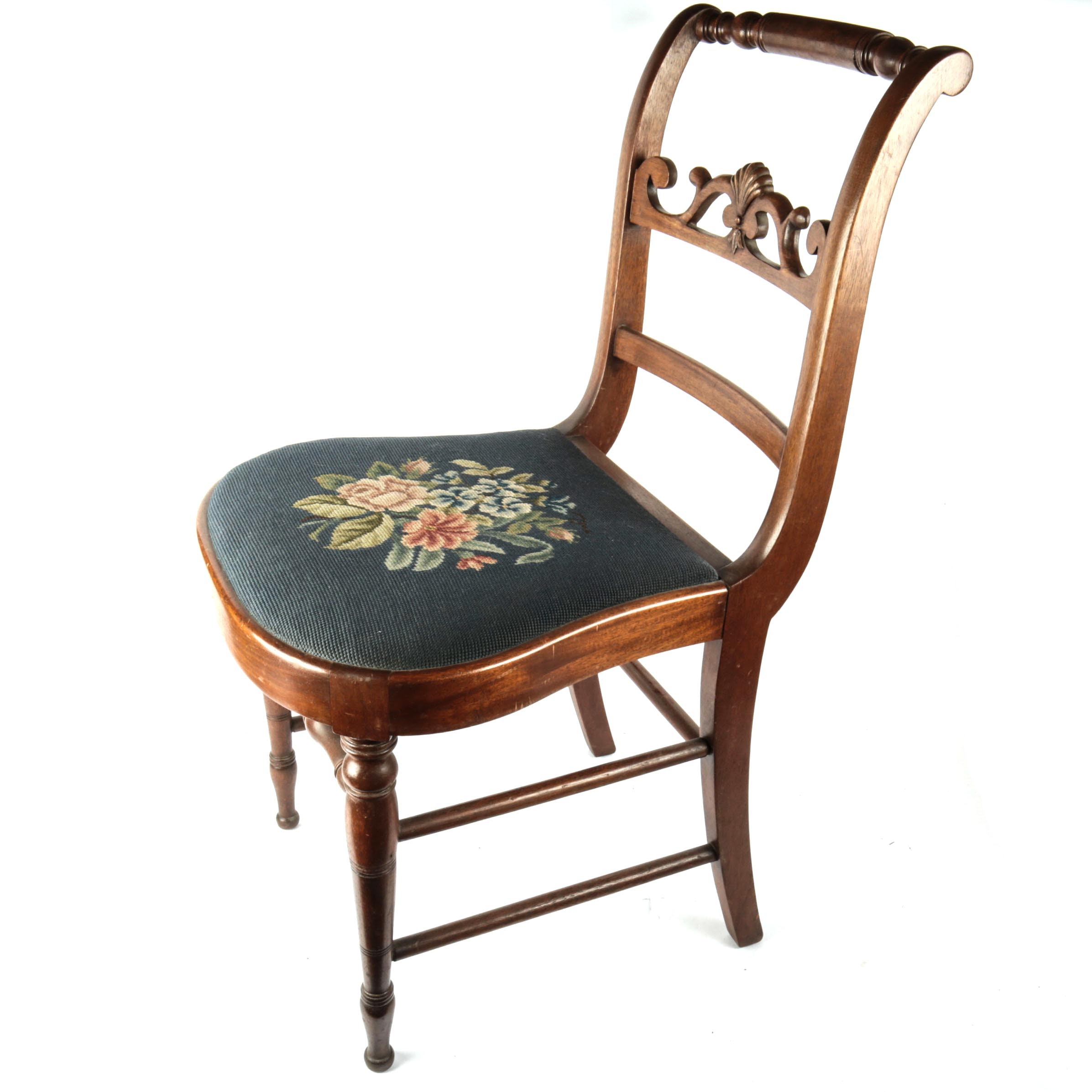Vintage Wooden Chair With Needlepoint Seat ...