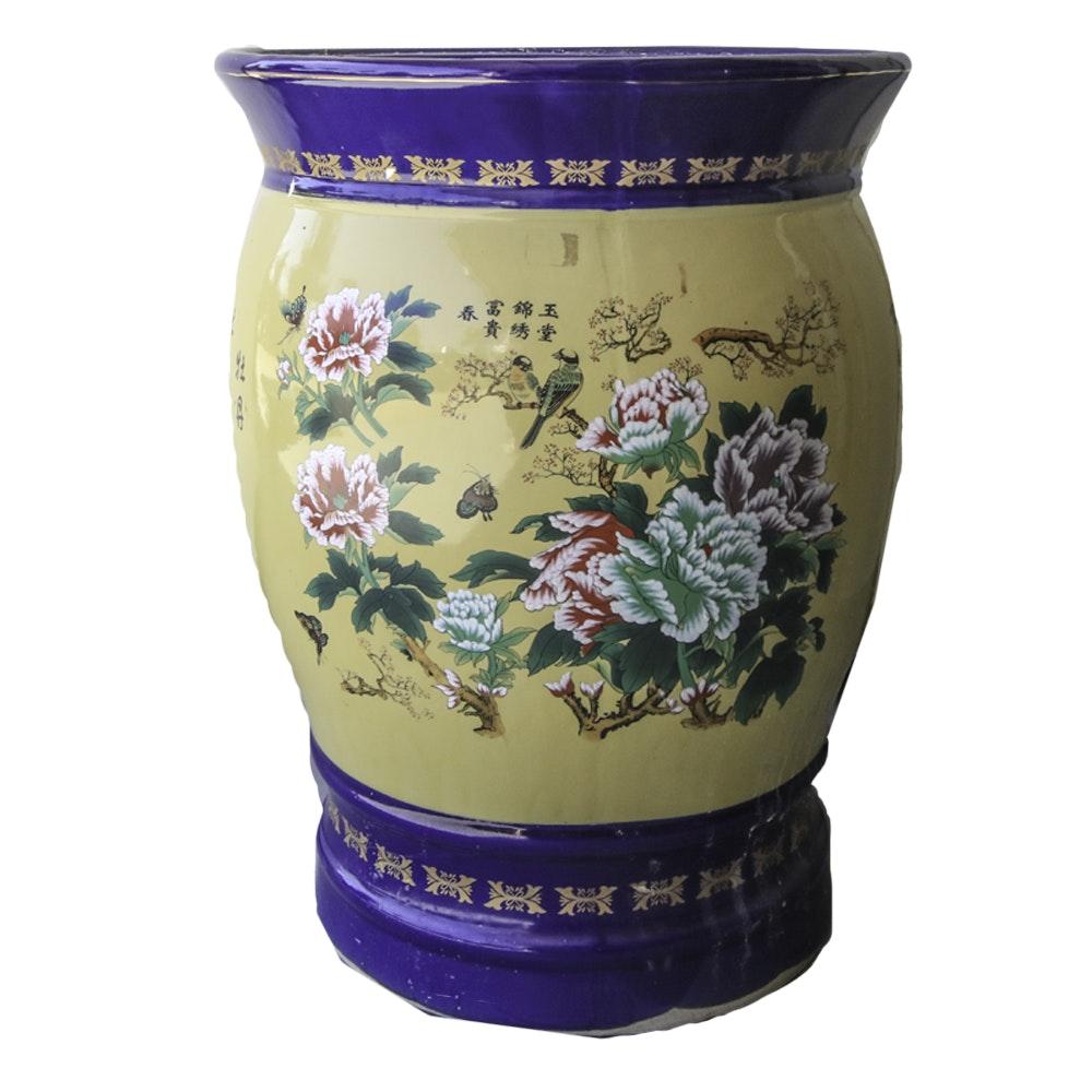 Large Chinese Inspired Ceramic Vase