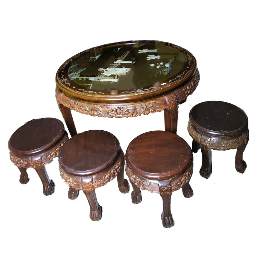 Chinese Carved Hardwood Tea Table And Four Matching Stools
