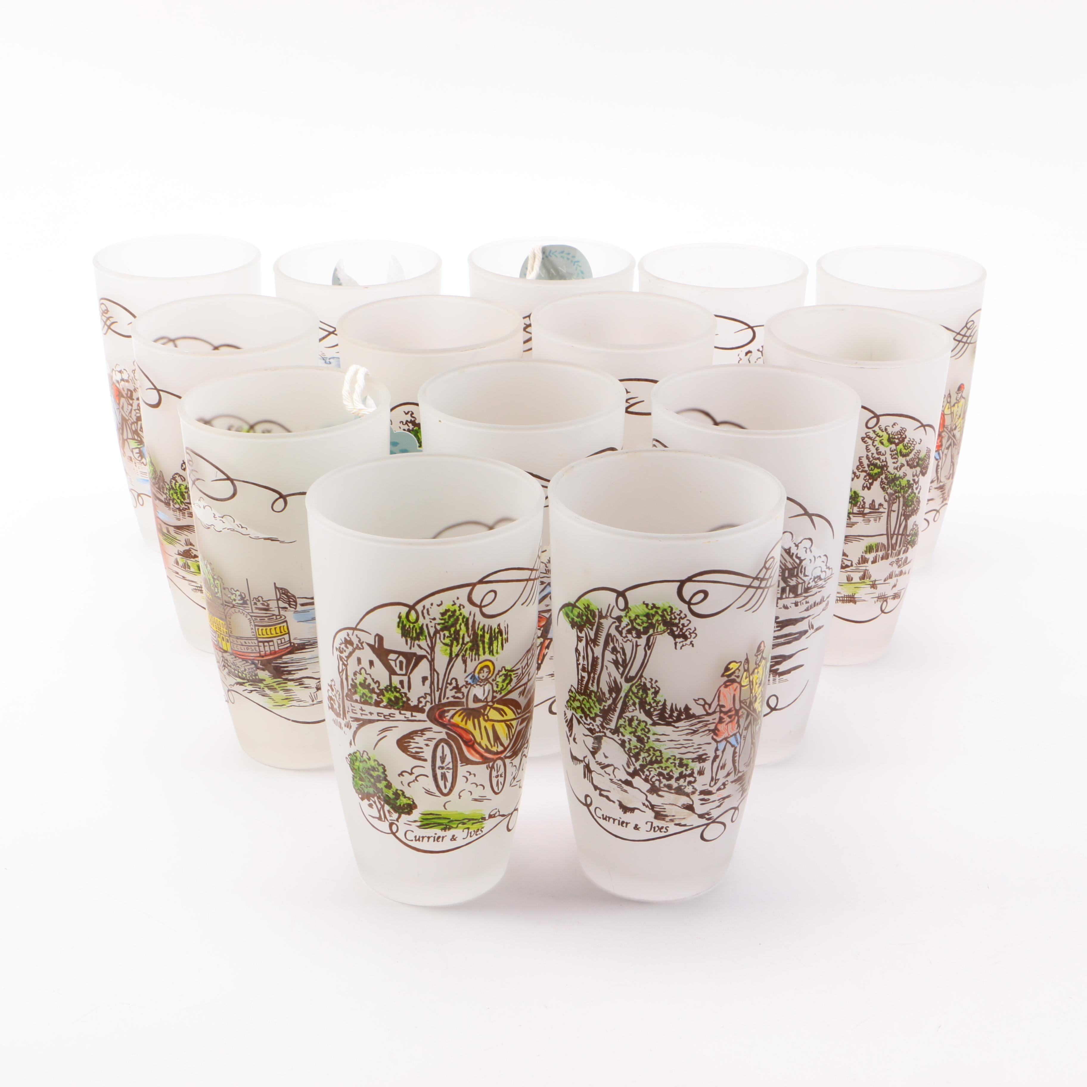 Currier and Ives Highball Glasses