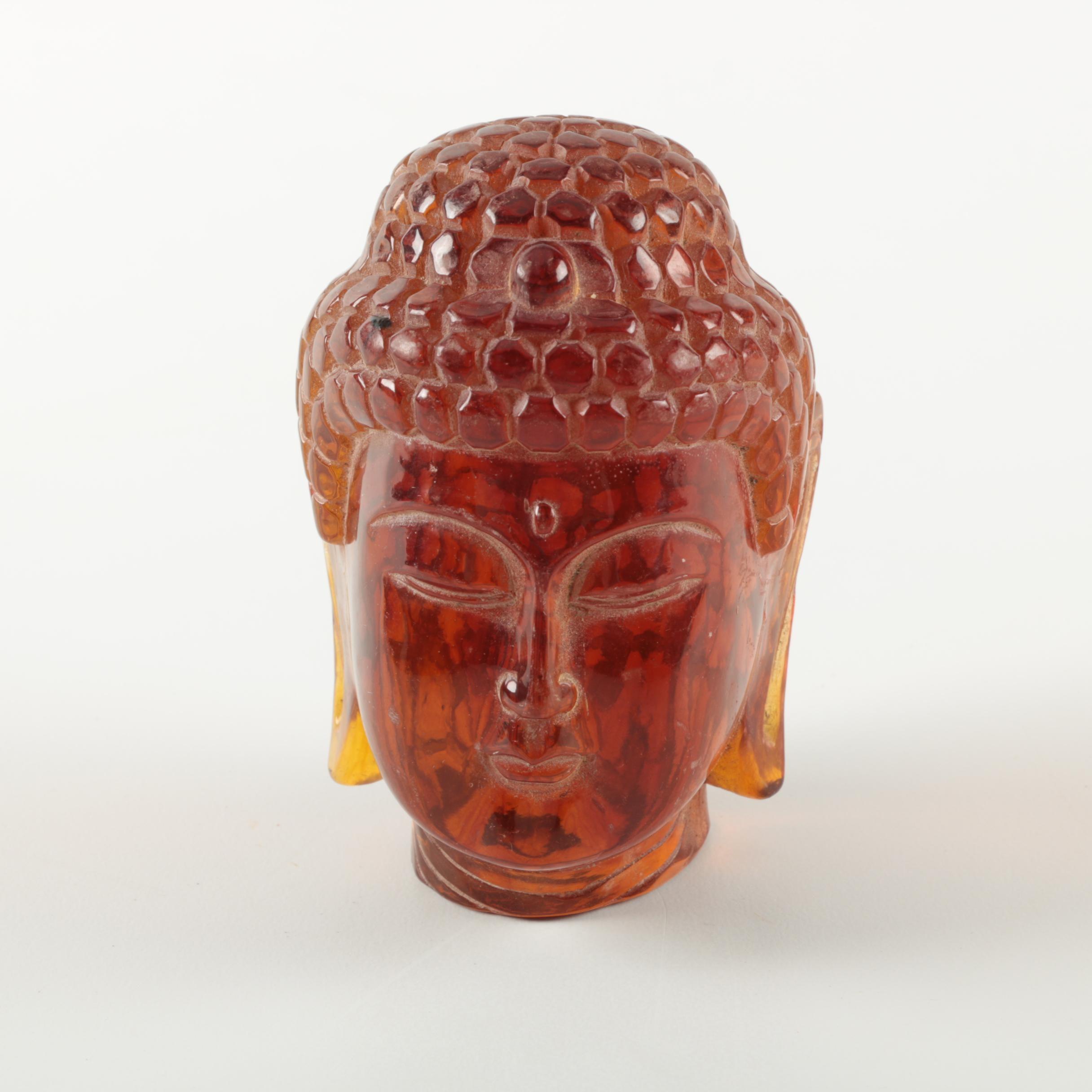 Amber Glass Buddha Head